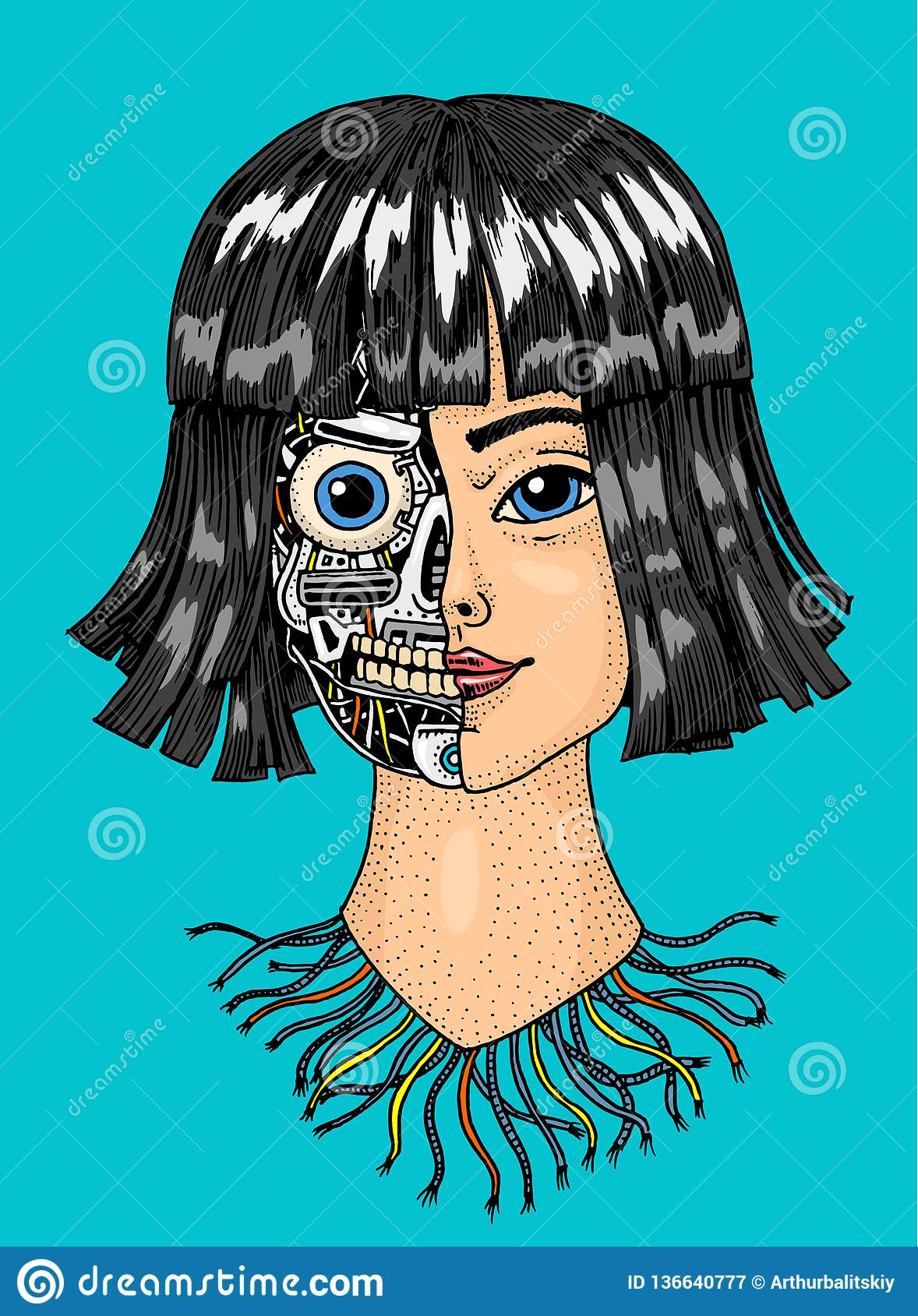 Abstract Vector Illustration Android Woman. Cartoon Vector ...