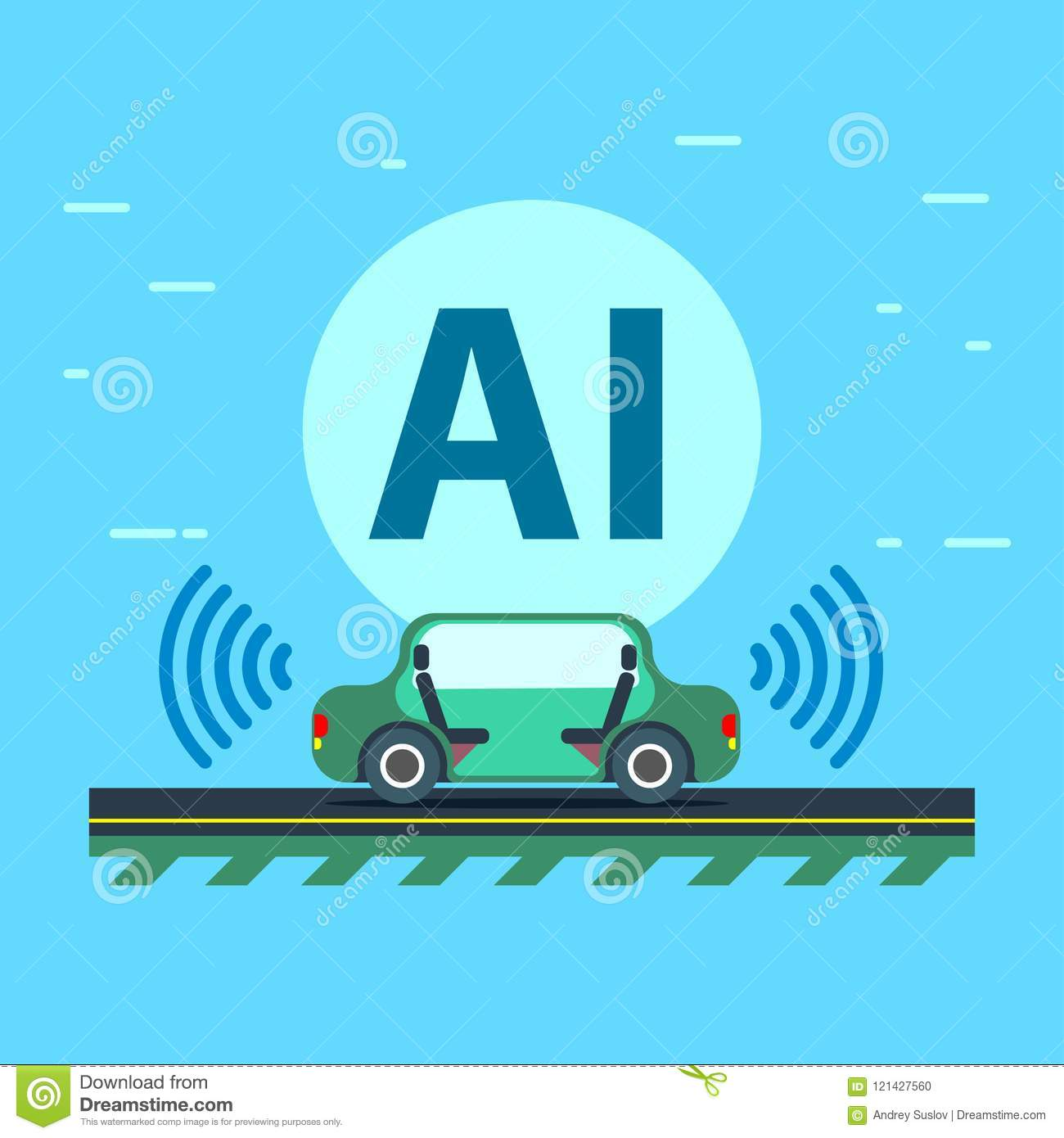 Artificial intelligence controls the Autonomous vehicle