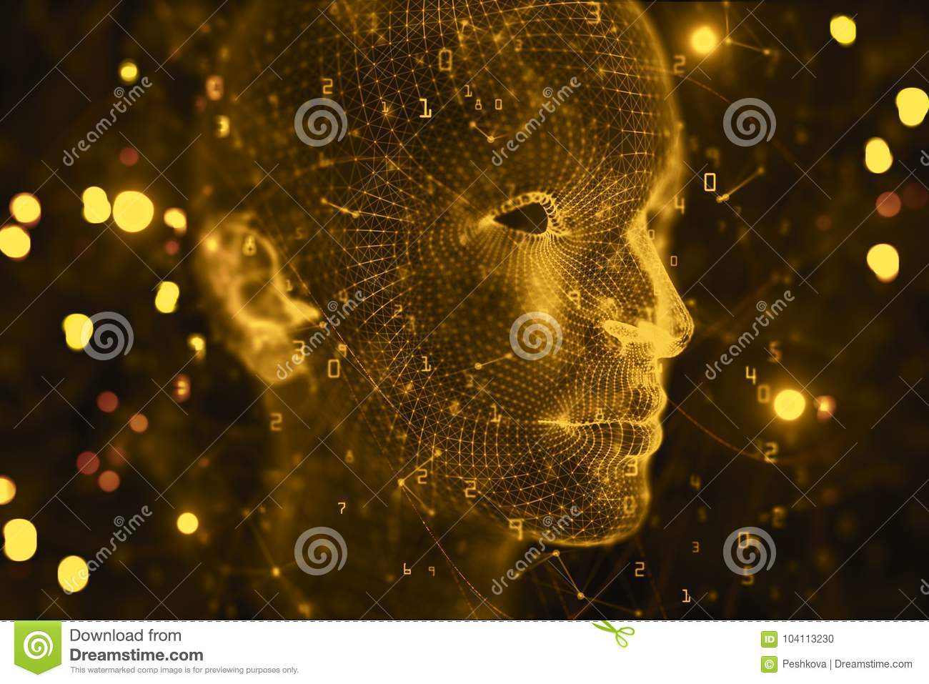 Artificial Intelligence Cyberspace And Robotics Background Stock