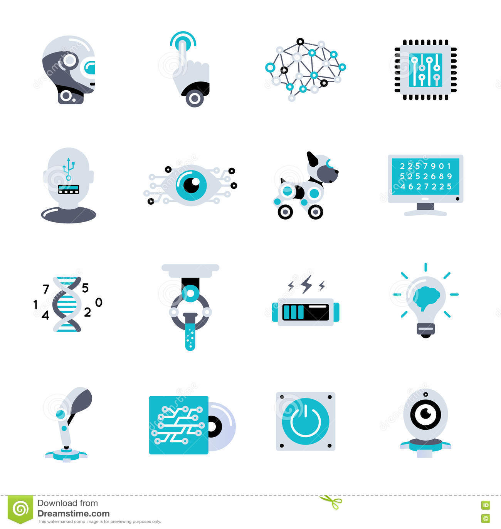 Artificial Intelligence Flat Icon Set
