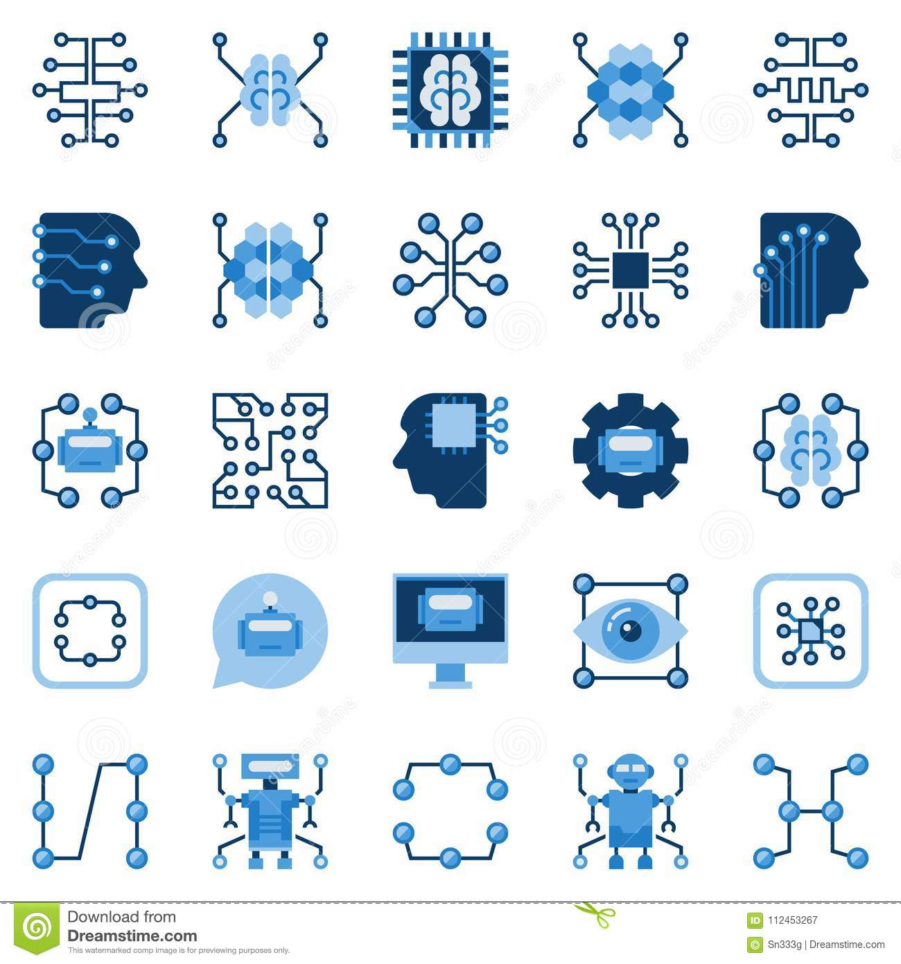 Artificial Intelligence Flat Icons Set Vector Ai Symbols Stock