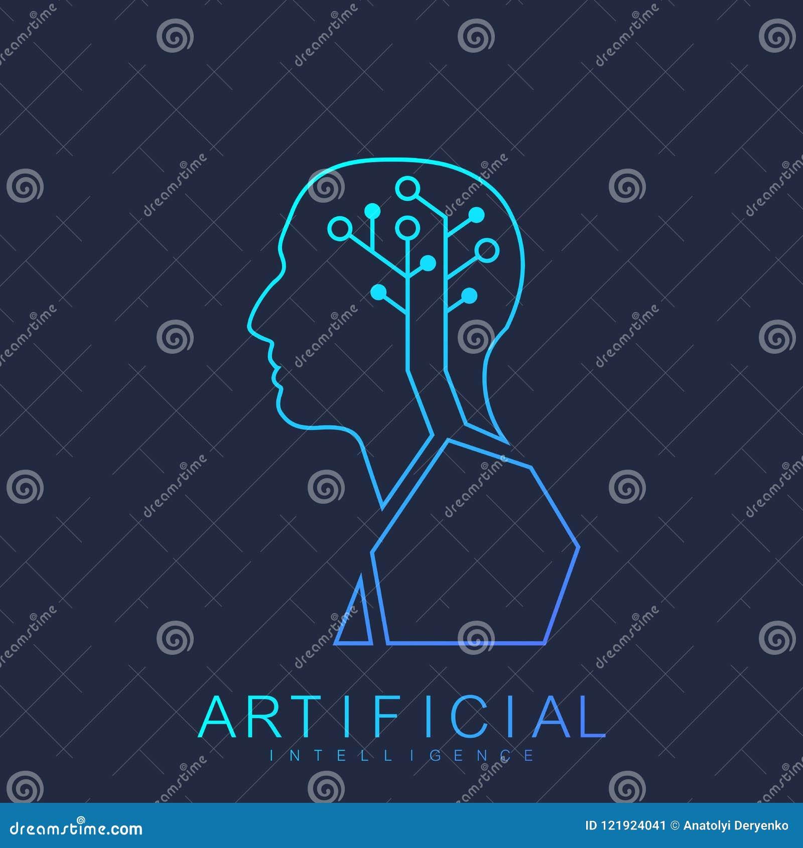 Artificial Intelligence Human Logo Machine Learning Concept. Vector Icon Artificial Intelligence, Logotype, Symbol, Sign