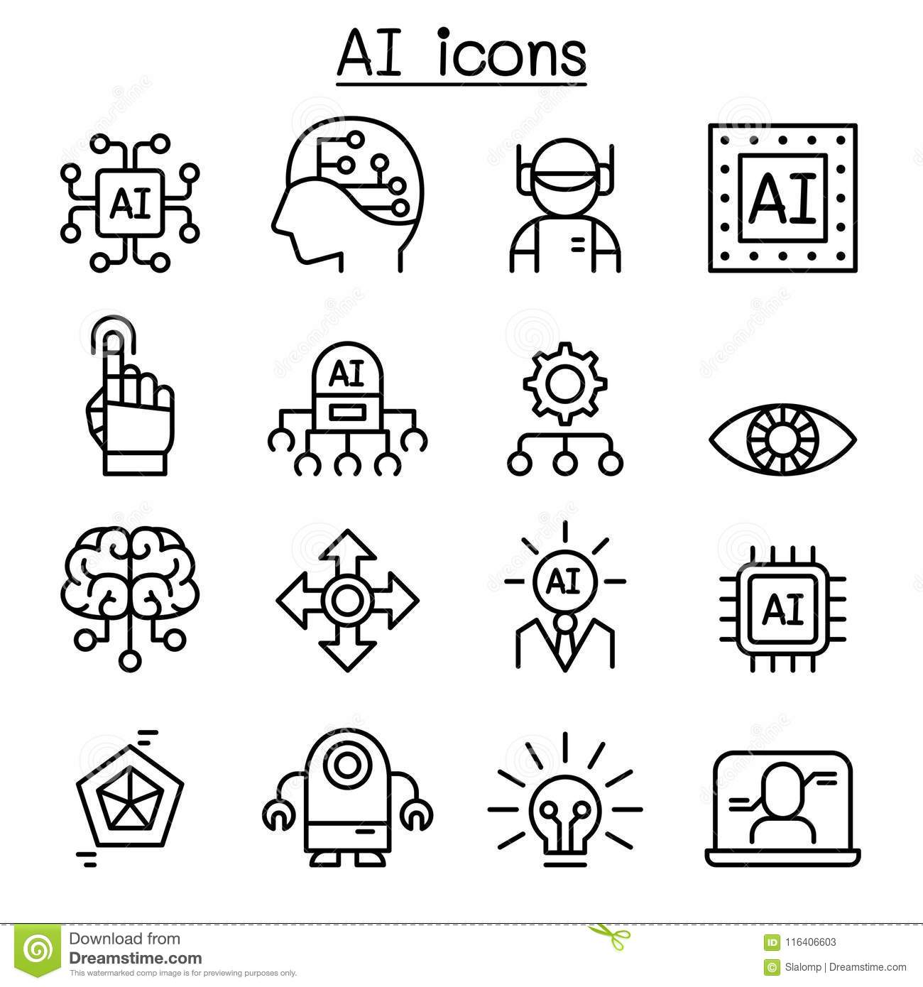 artificial intelligence icon set in thin line style stock