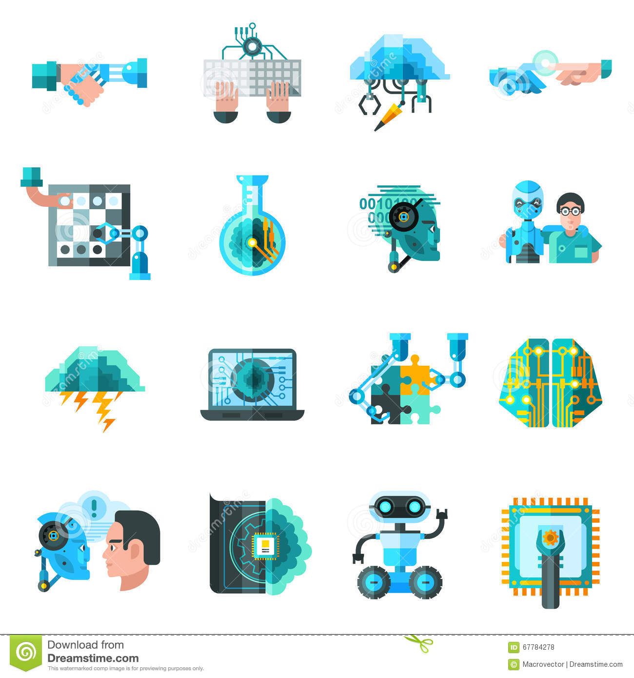 Artificial Intelligence Icons Set Stock Vector Illustration Of