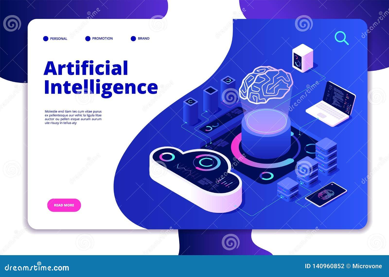 Artificial intelligence landing. Ai smart digital brain networking neural learning intelligent solutions innovations