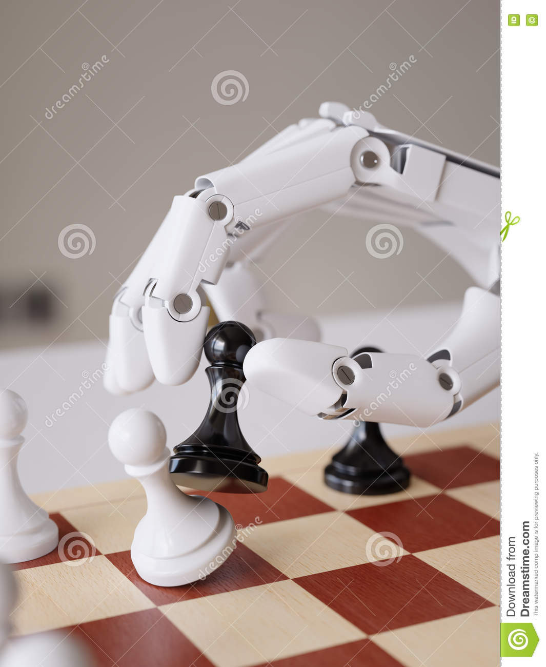 Artificial Intelligence Playing Chess 3d Illustration Concept