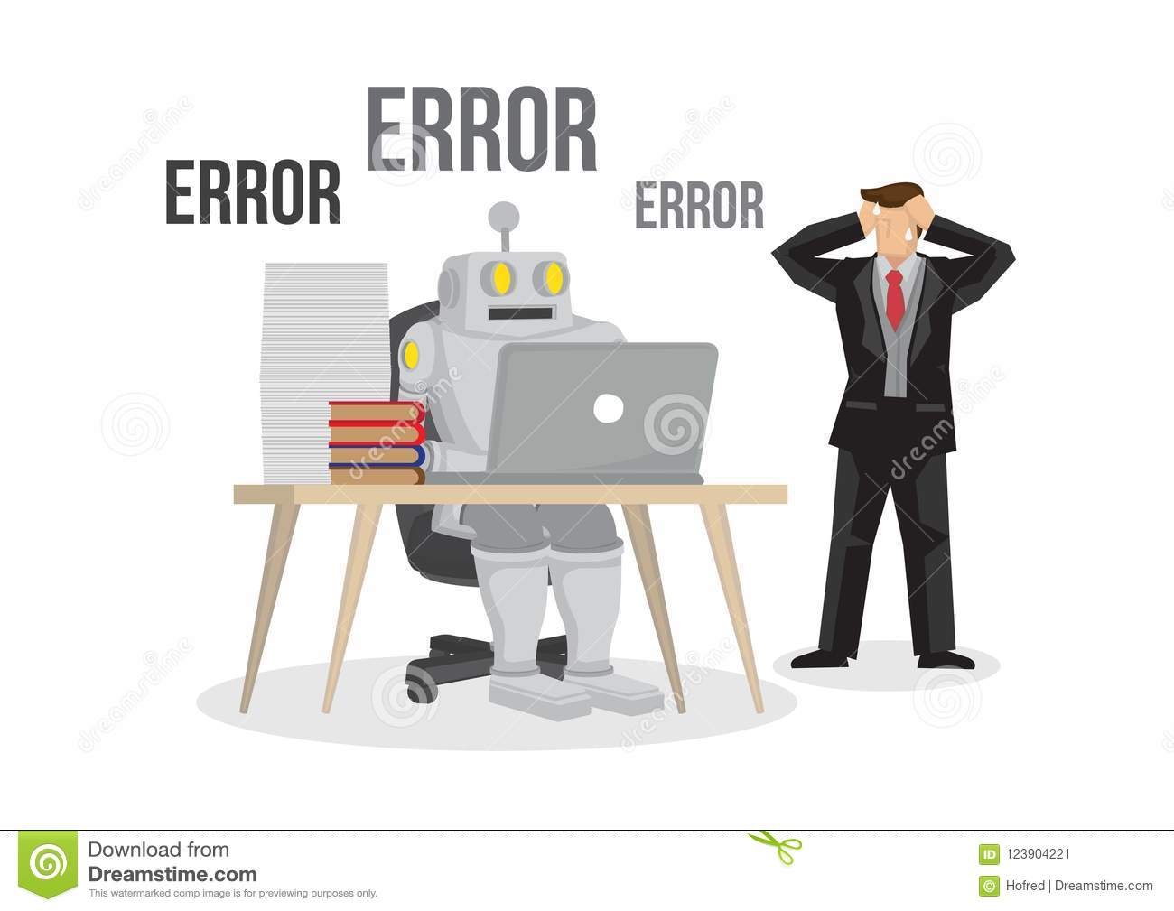 Artificial intelligence robot failures broken down due to overloaded. Artificial brain glitch and error. Future concept. Business