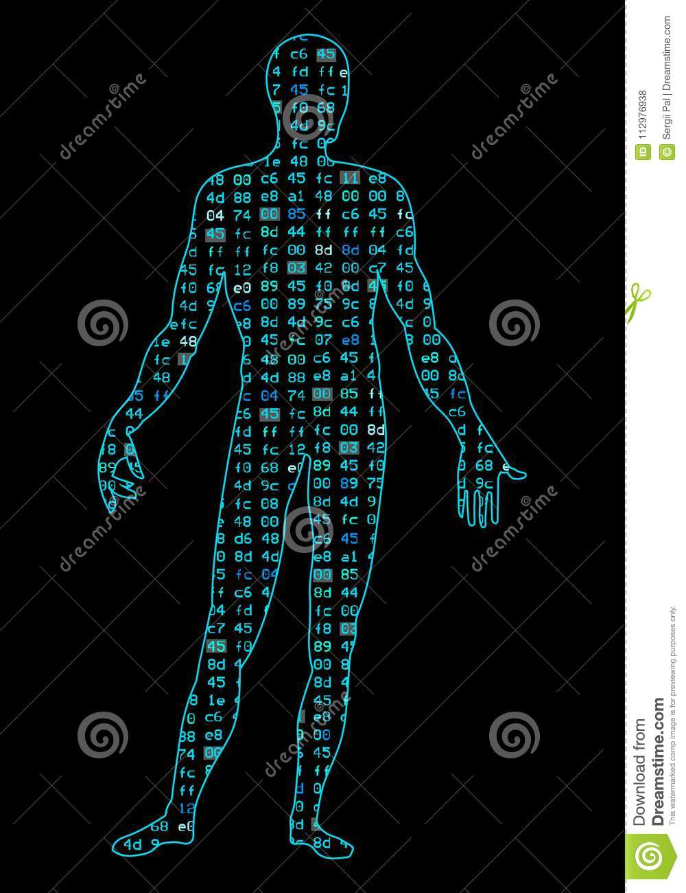 Artificial Intelligence. Silhouette of a man body, inside which binary code. It can illustrate scientific ideas