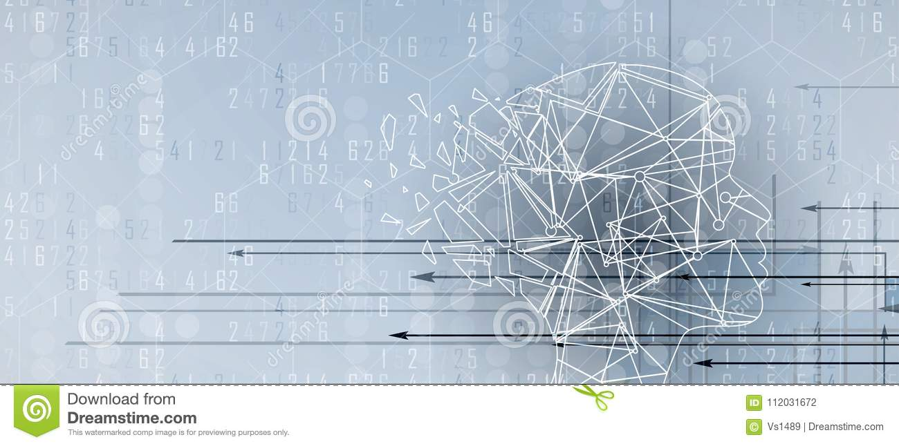 Artificial intelligence with triangle form. Technology web background. Virtual conc