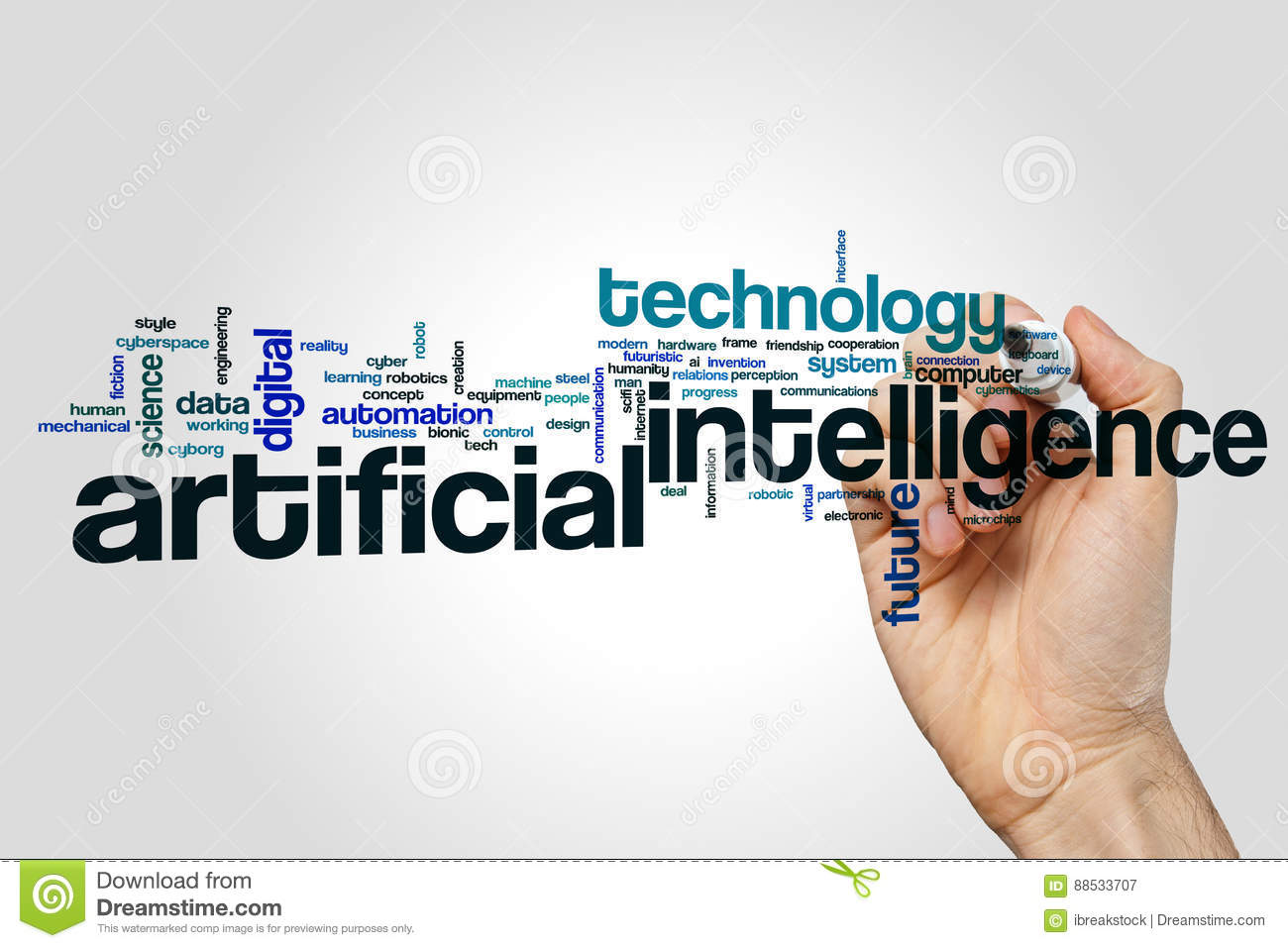 Artificial intelligence word cloud concept on grey background