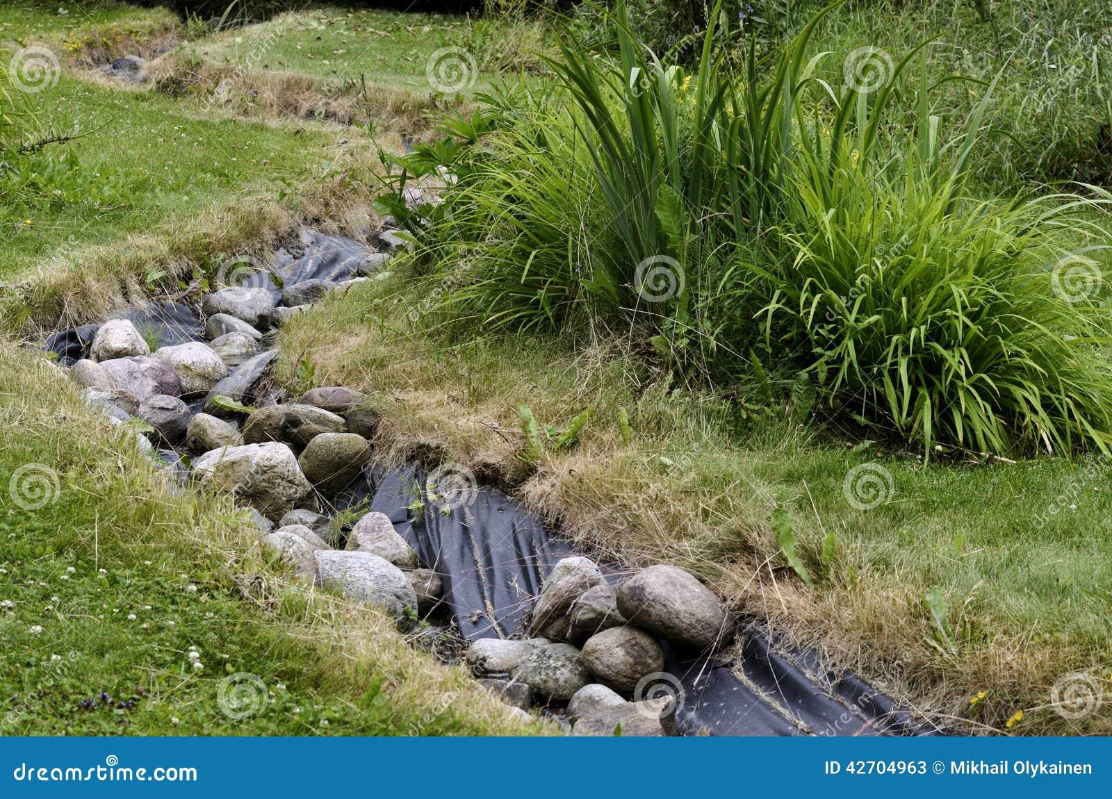 Backyard garden design plans - Stream And Decorative Landscaped Garden Stock Photo Image 42704963