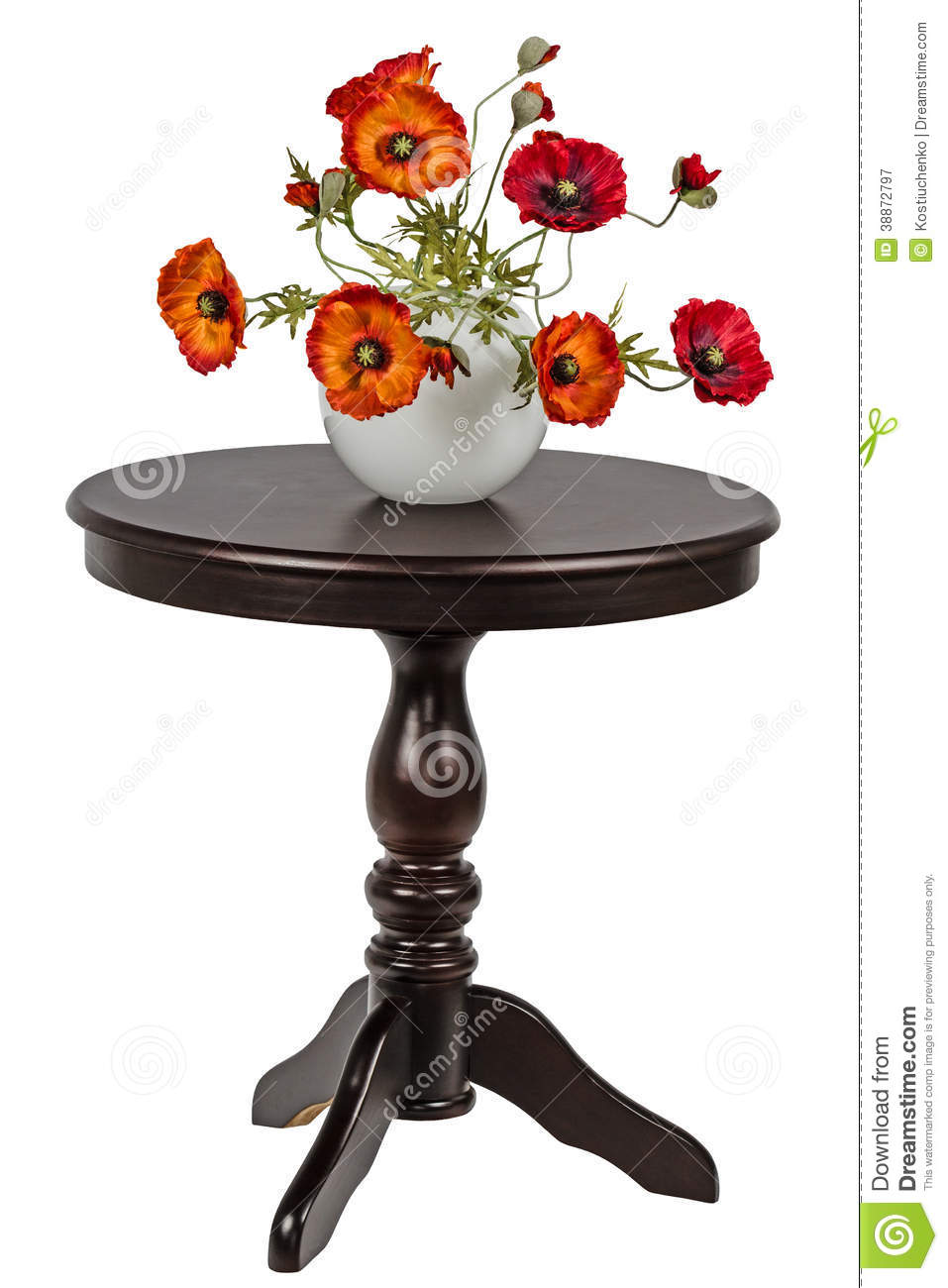 Round Table La Mesa.Artificial Poppies In A Vase On The Round Table Stock Image Image
