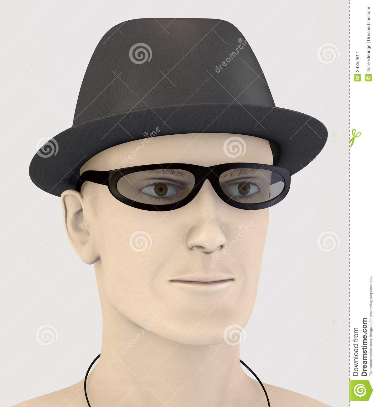 Artificial rendered 3d character - hat and glasses