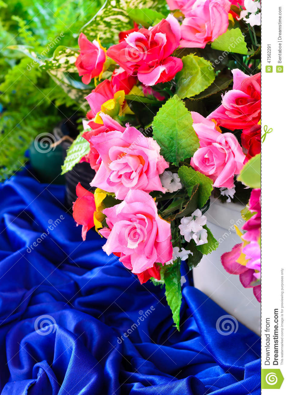 Artificial rose flowers decoration stock image image of for Artificial plants for interior decoration