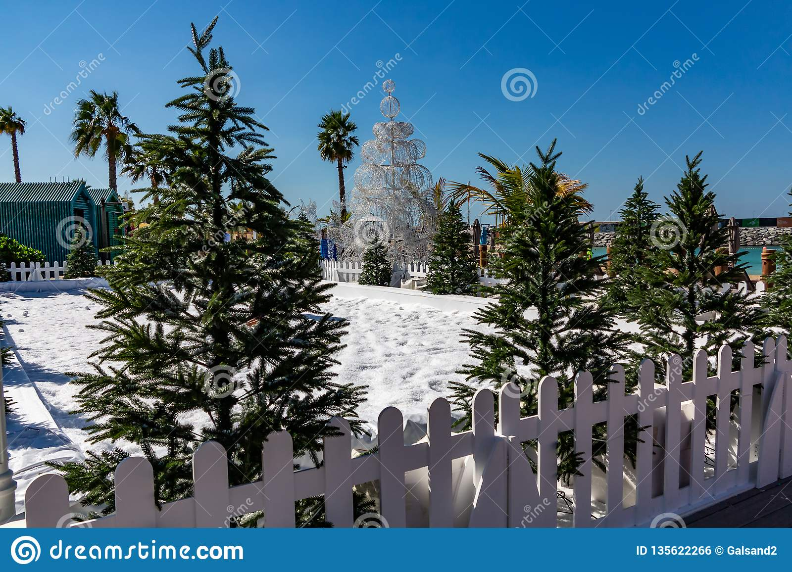 Artificial snow and Christmas trees at the resort - winter and Christmas in hot countries concept
