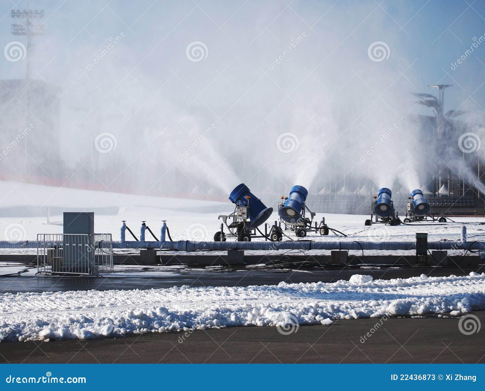 Artificial snow machine stock photos image