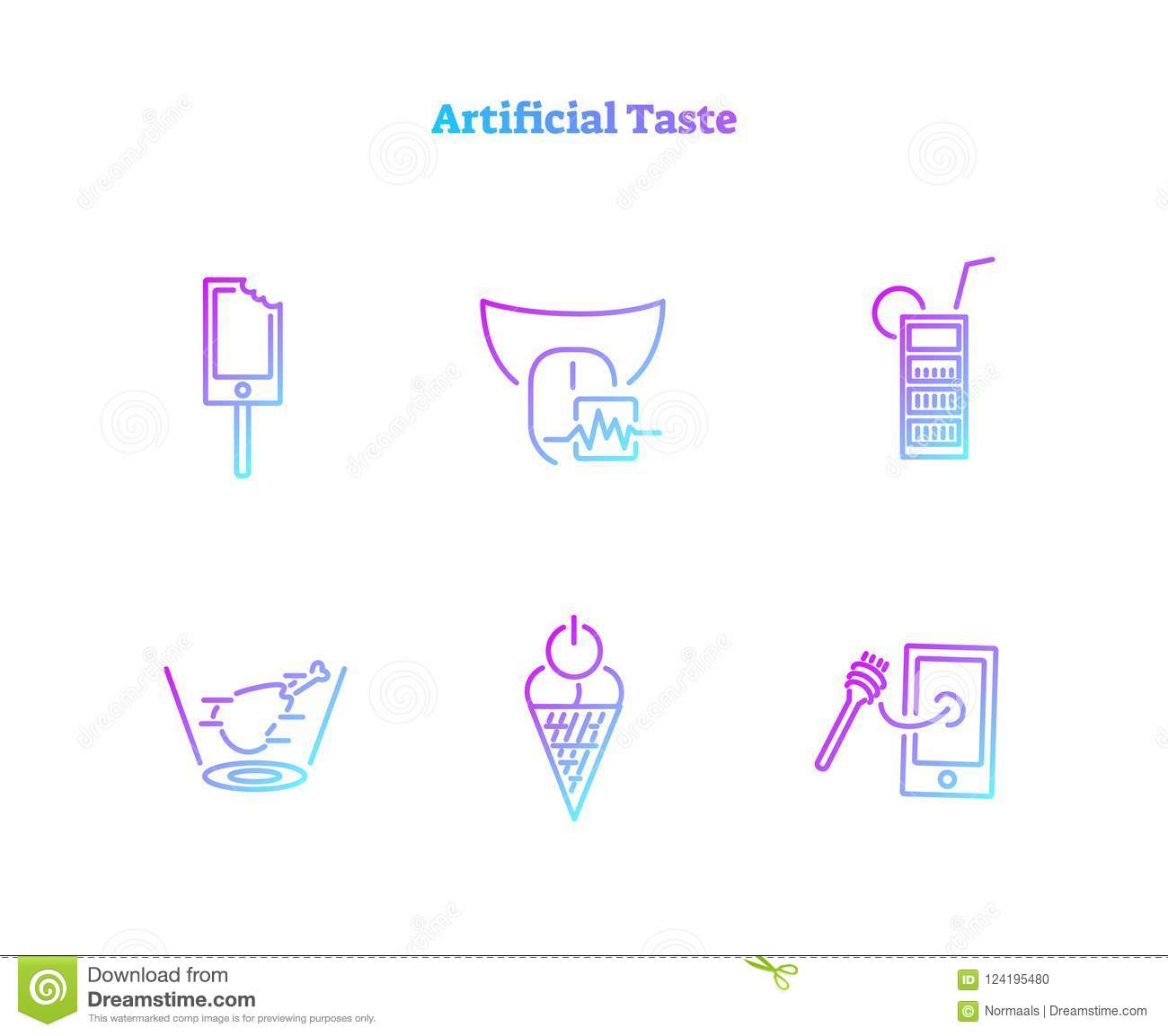 Artificial taste concept icons collection. Virtually generated digital food biochemical technology symbol set.