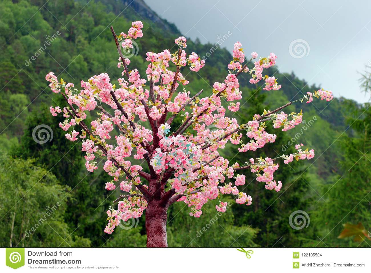 Albero Con Fiori Bianchi artificial tree with pink and white flowers stock photo