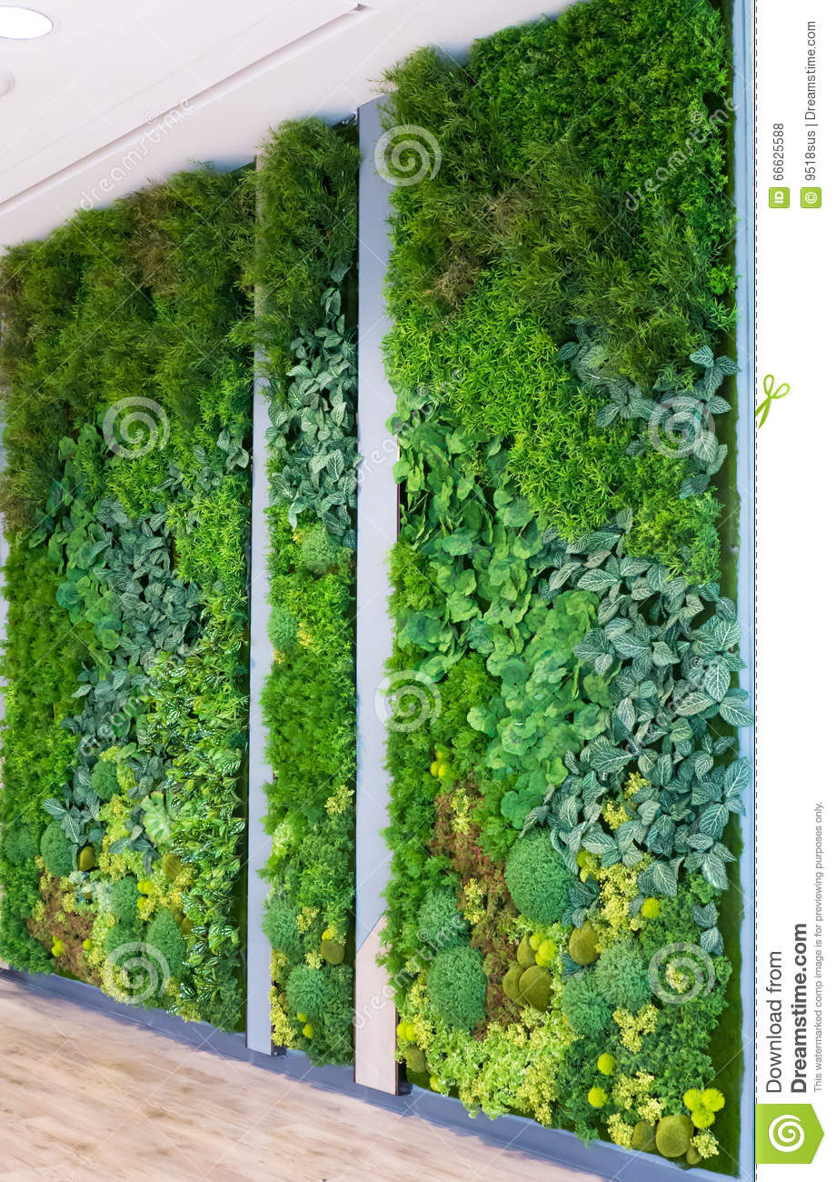 Artificial Vertical Gardens With Fake Plants On Walls