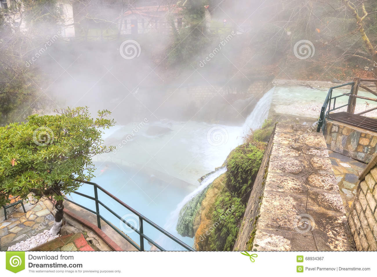 Artificial Waterfall On The River Termopotamos Stock Photo
