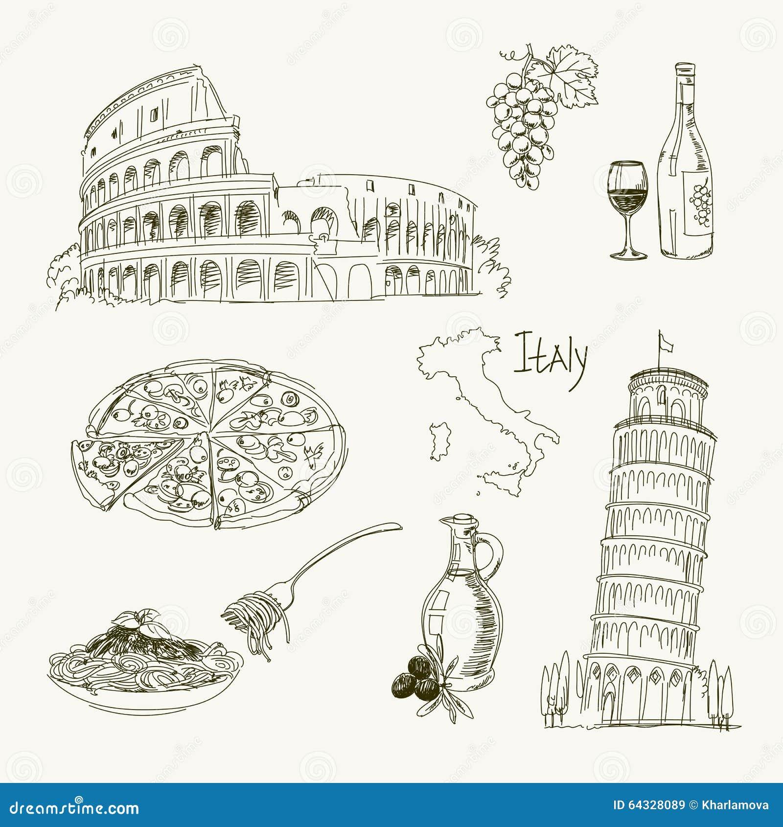 Artigos de Itália do desenho a mão livre