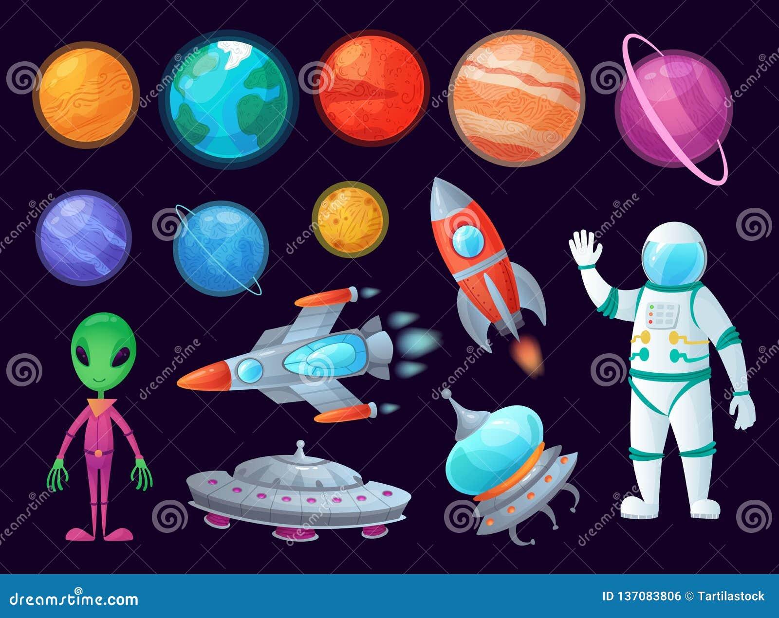 Artigos do espaço UFO do estrangeiro, planeta do universo e foguetes do míssil Grupo do artigo do vetor dos gráficos dos desenhos