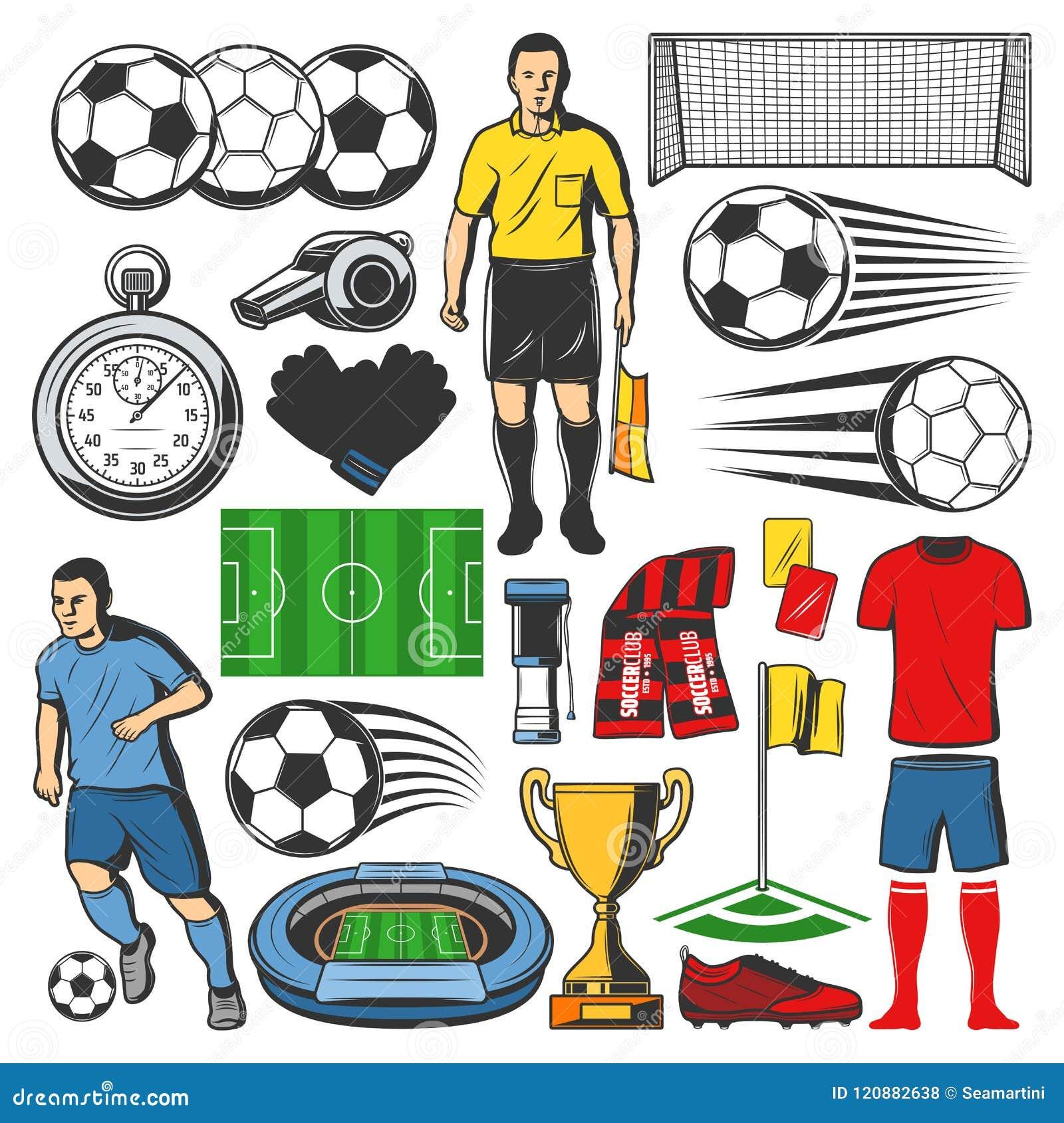 Artigos do jogo do esporte do futebol Vector ícones isolados da bola do  futebol fd49948f31e70