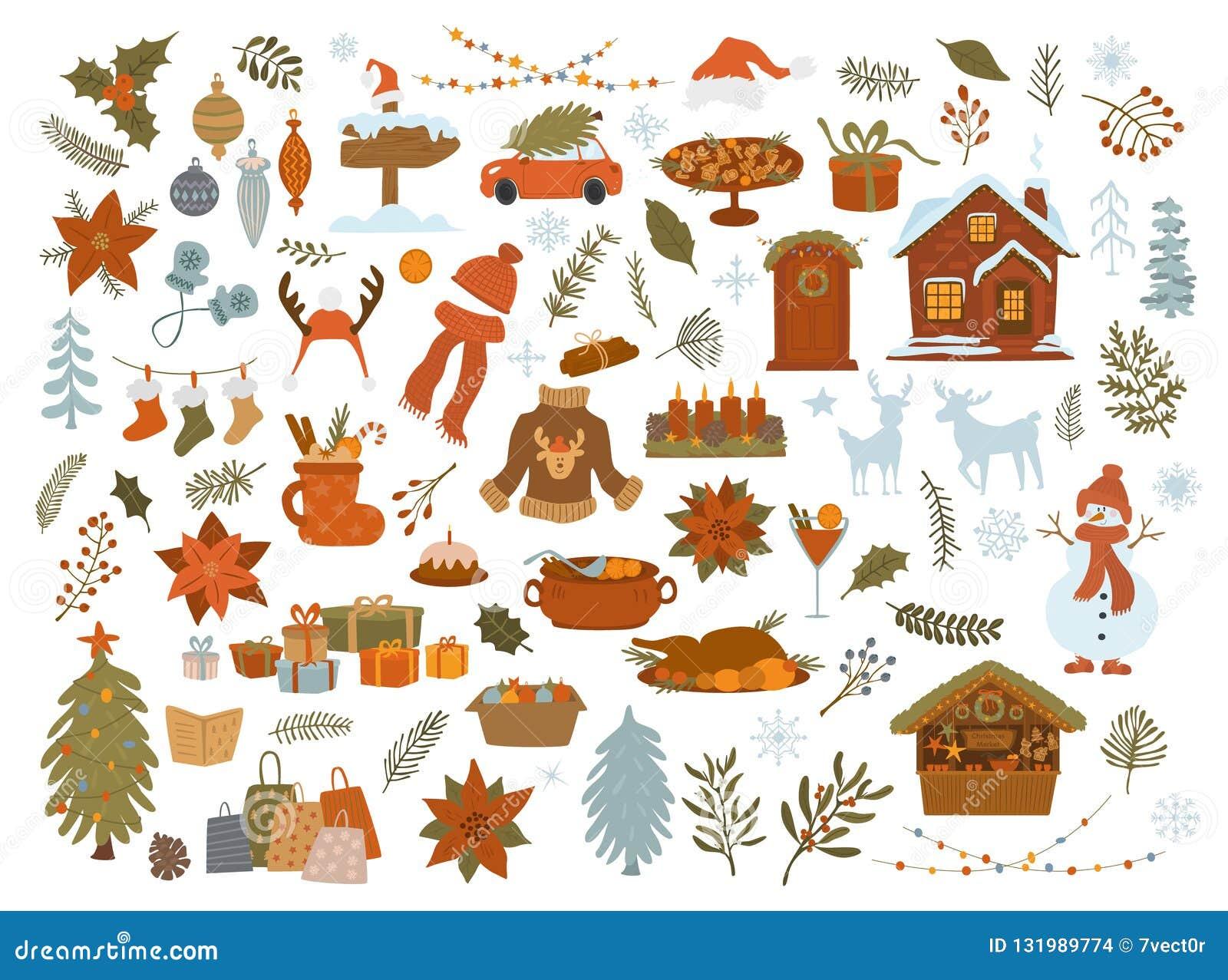 Artigos grupo dos objetos do Natal, árvore do xmas, presentes das luzes, casa, carro, decoração, gráfico isolado folha da ilustra