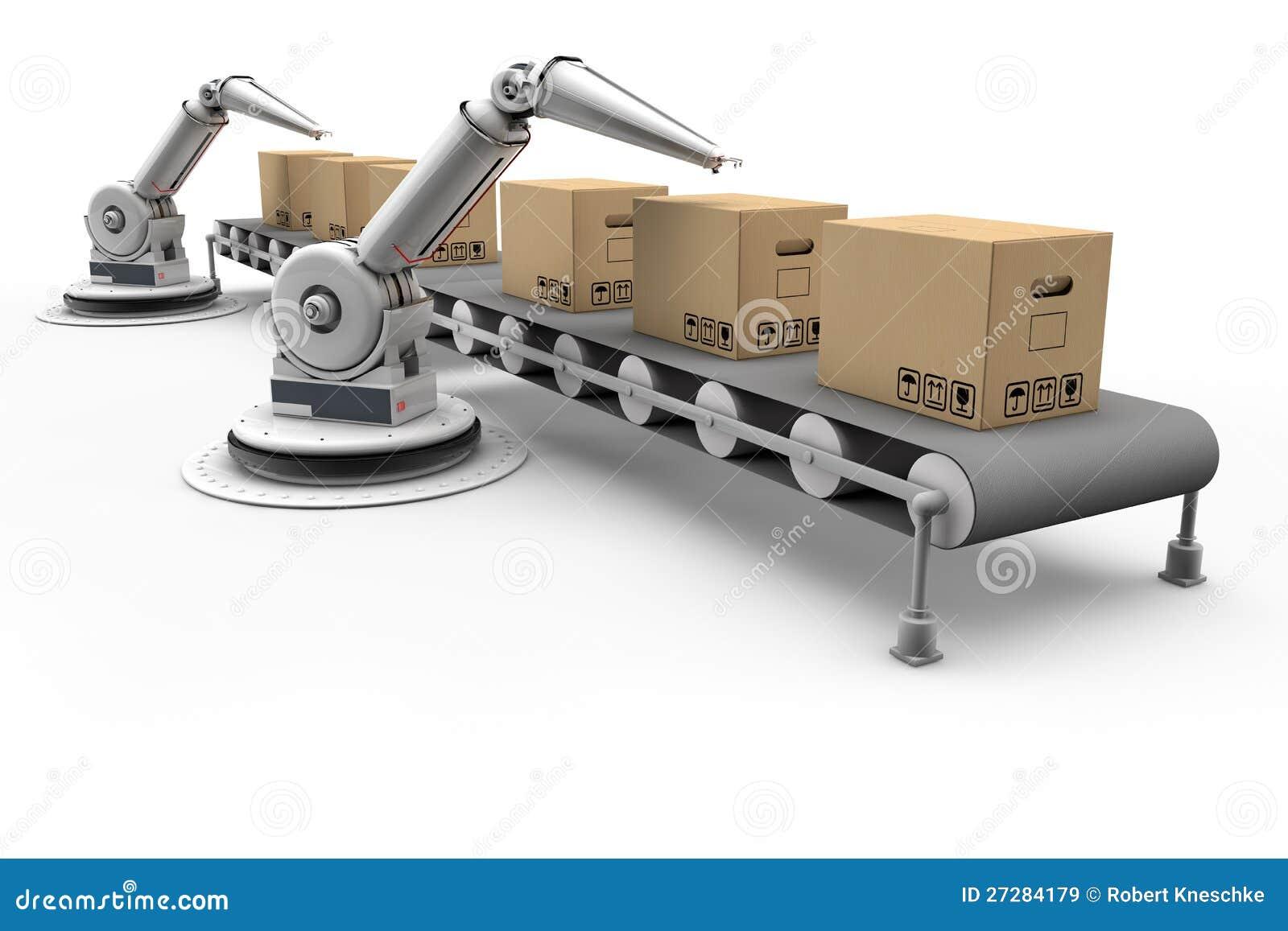 Artikulerad robot på monteringsband