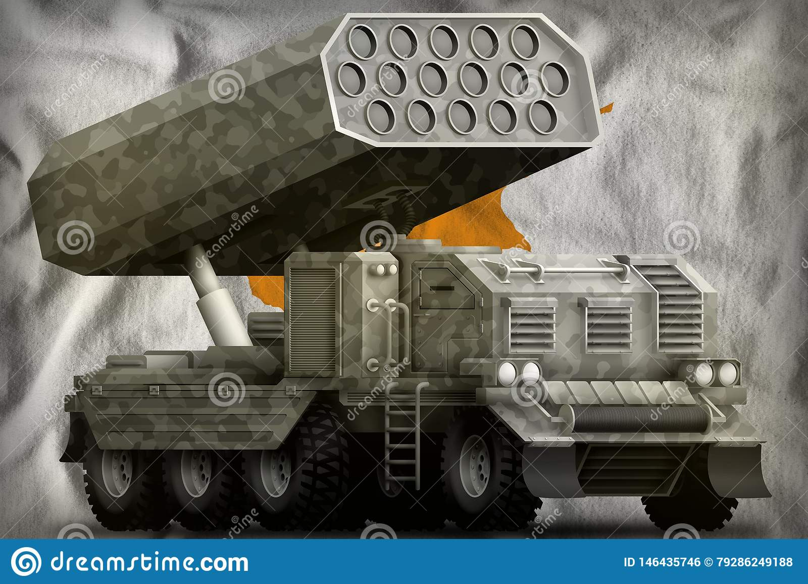 Artillerie de Rocket, lance-missiles avec le camouflage gris sur le fond de drapeau national de la Chypre illustration 3D