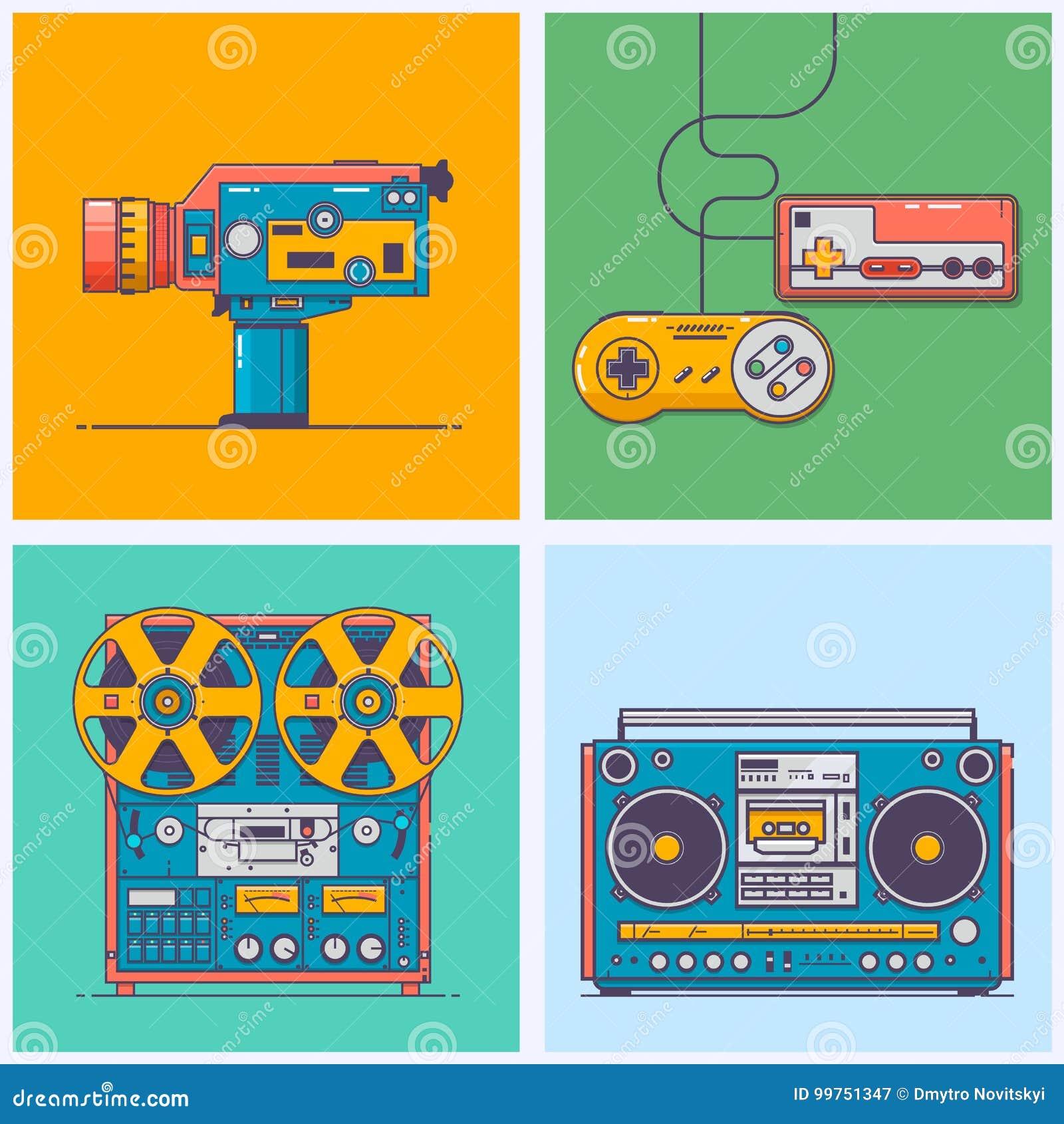 Artilugios retros de 90s en la línea estilo plana Videoconsola del vintage, videocámara, magnetófono, boombox Tecnología del jueg