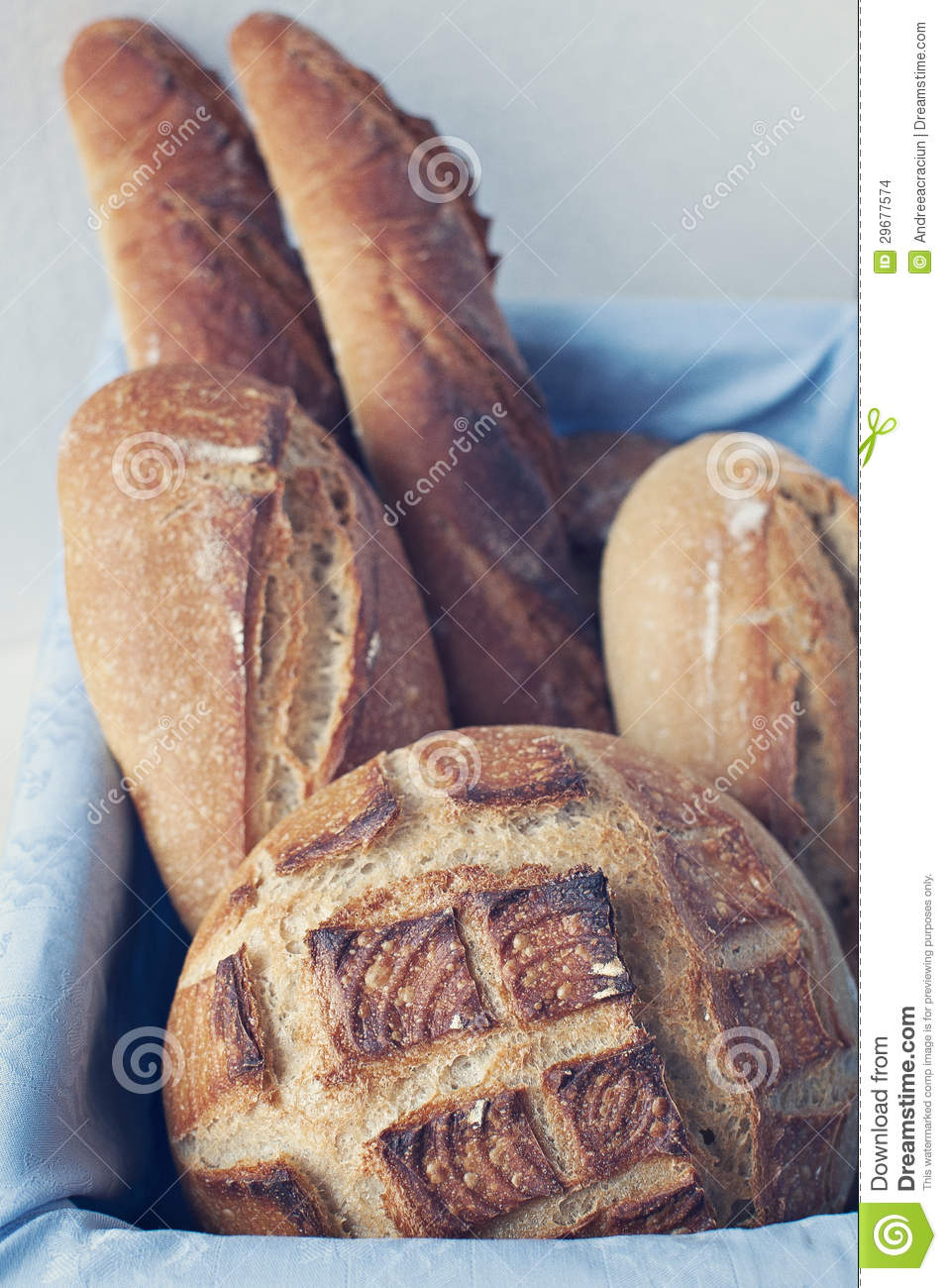 Artisan Bread In Basket Stock Photo Image Of Shaping