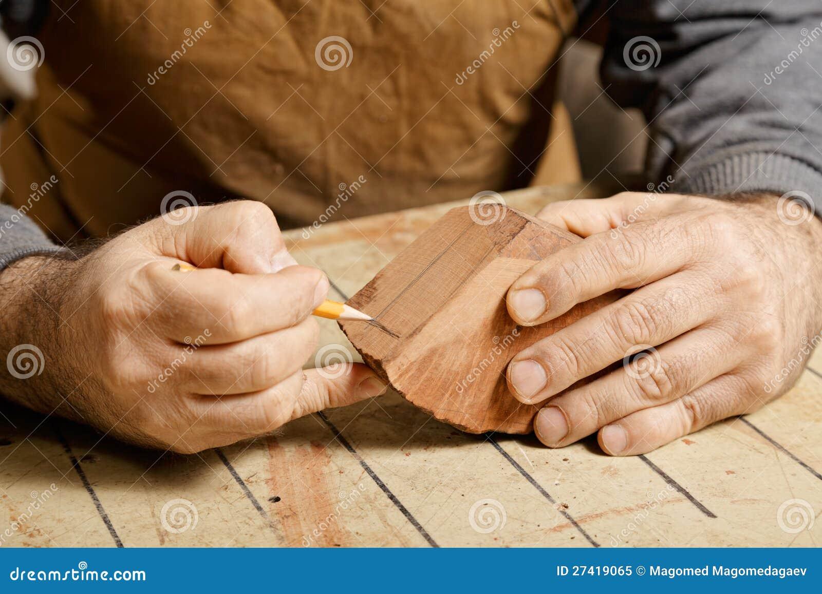 Artisan Hands Sketching On Wood Billet Royalty Free Stock