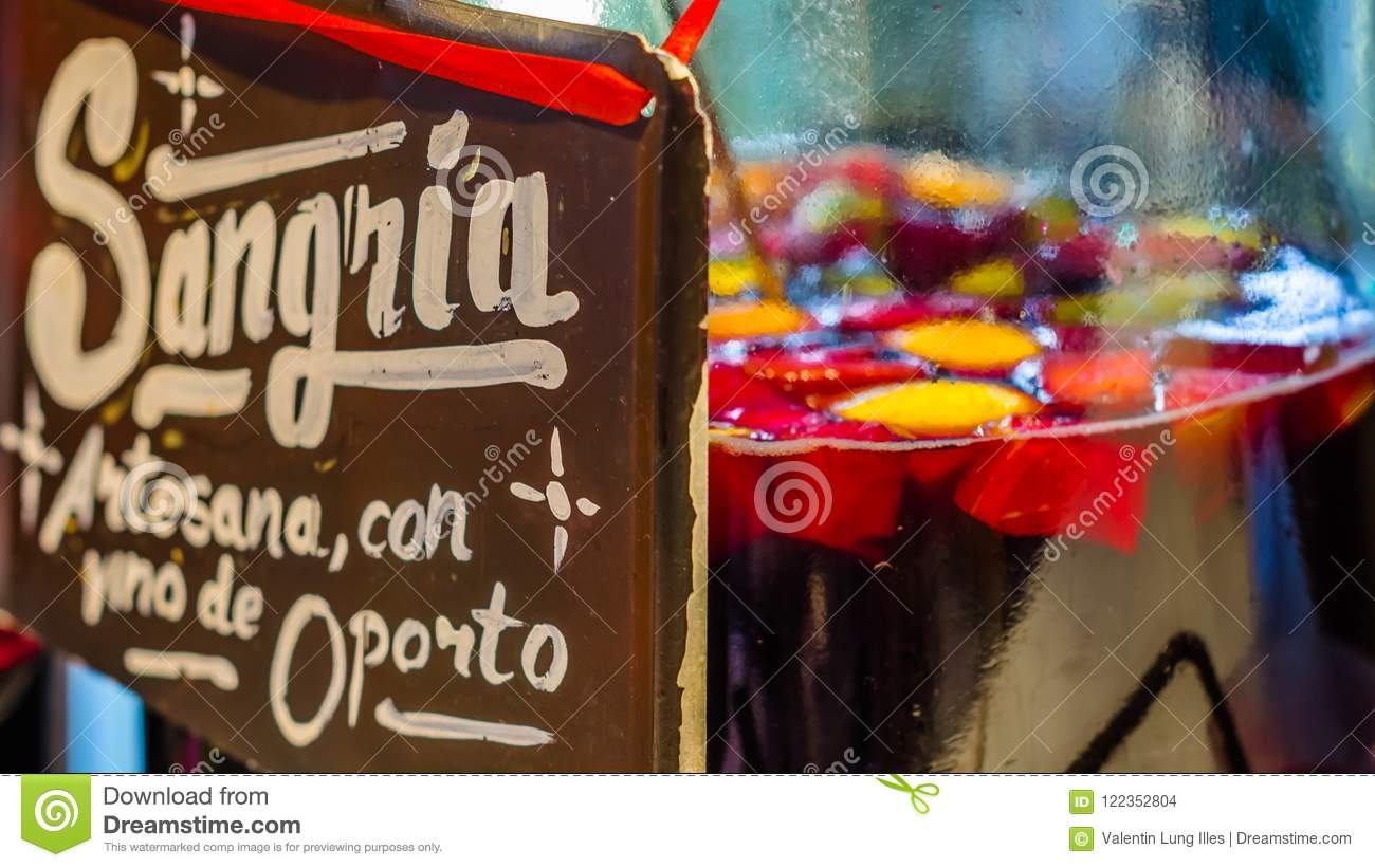 Artisan Port Wine Sangria Served In A Bar Editorial Stock Image