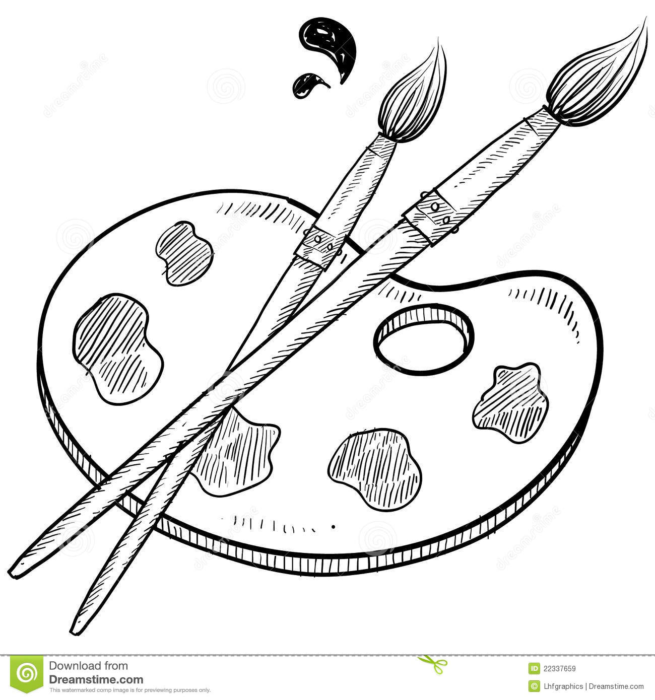 Line Art Brushes Photo : Artist brush and palette sketch stock vector image