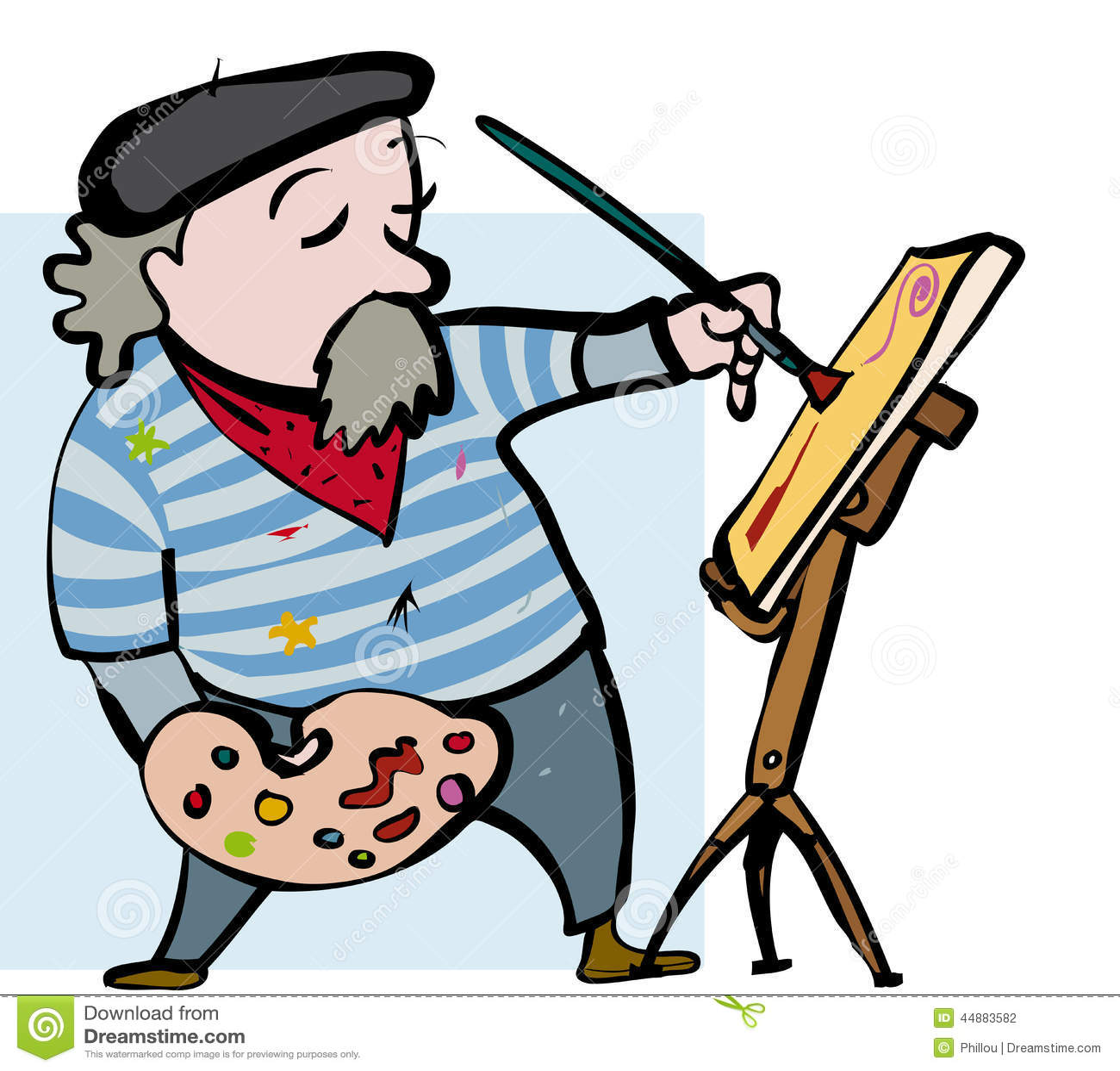 Artist Cartoon Stock Vector - Image: 44883582