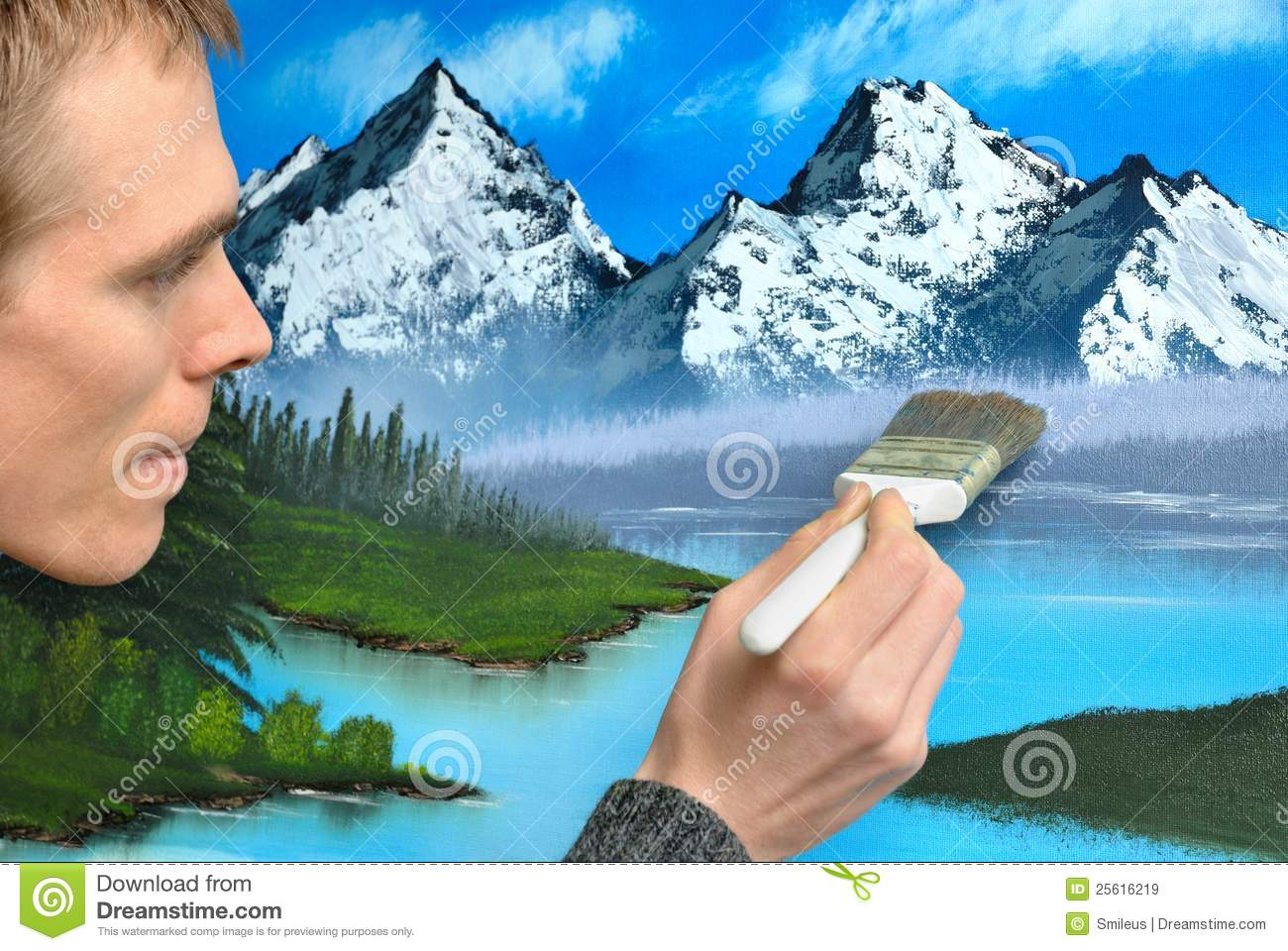 Artist creating a landscape painting