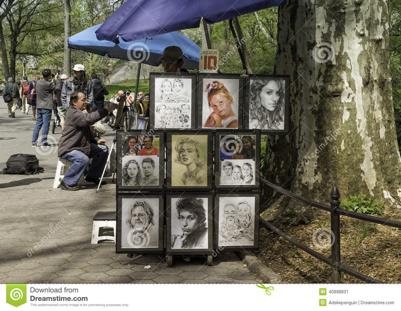 Artist Draws Central Park New York Editorial Photo Image Of Caricatures Sale 40998831