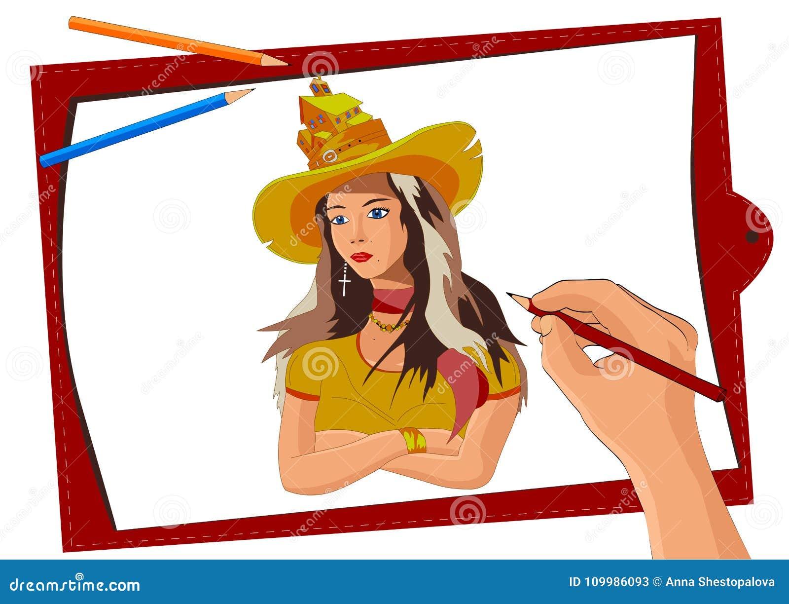 e263a2c1f04 Artist draws girl hat vector picture process drawing pencils landscape  sheet vector illustration image jpg 1300x1011