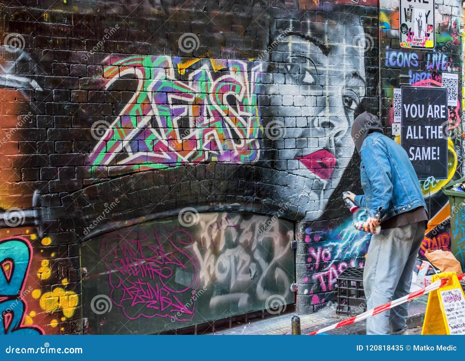 Download Artist And Graffiti In Melbourne Australia Editorial Image Image Of Making Grafitti