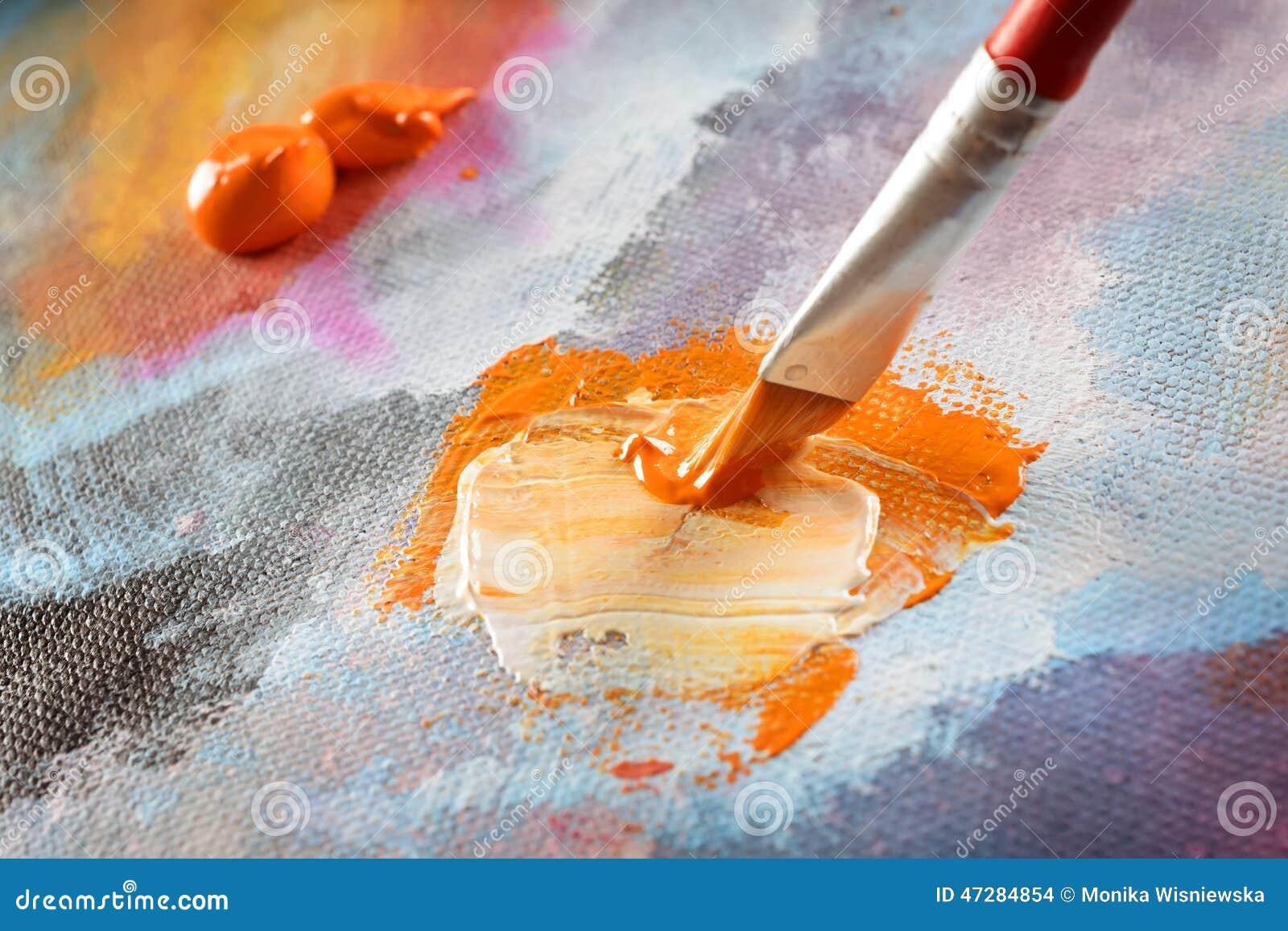 Artist hand painting