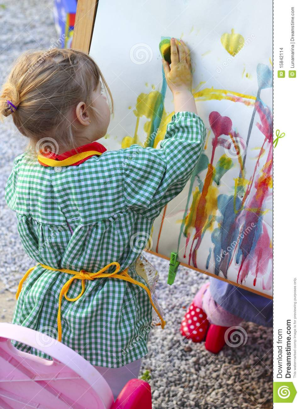 Artist little girl children painting a picture