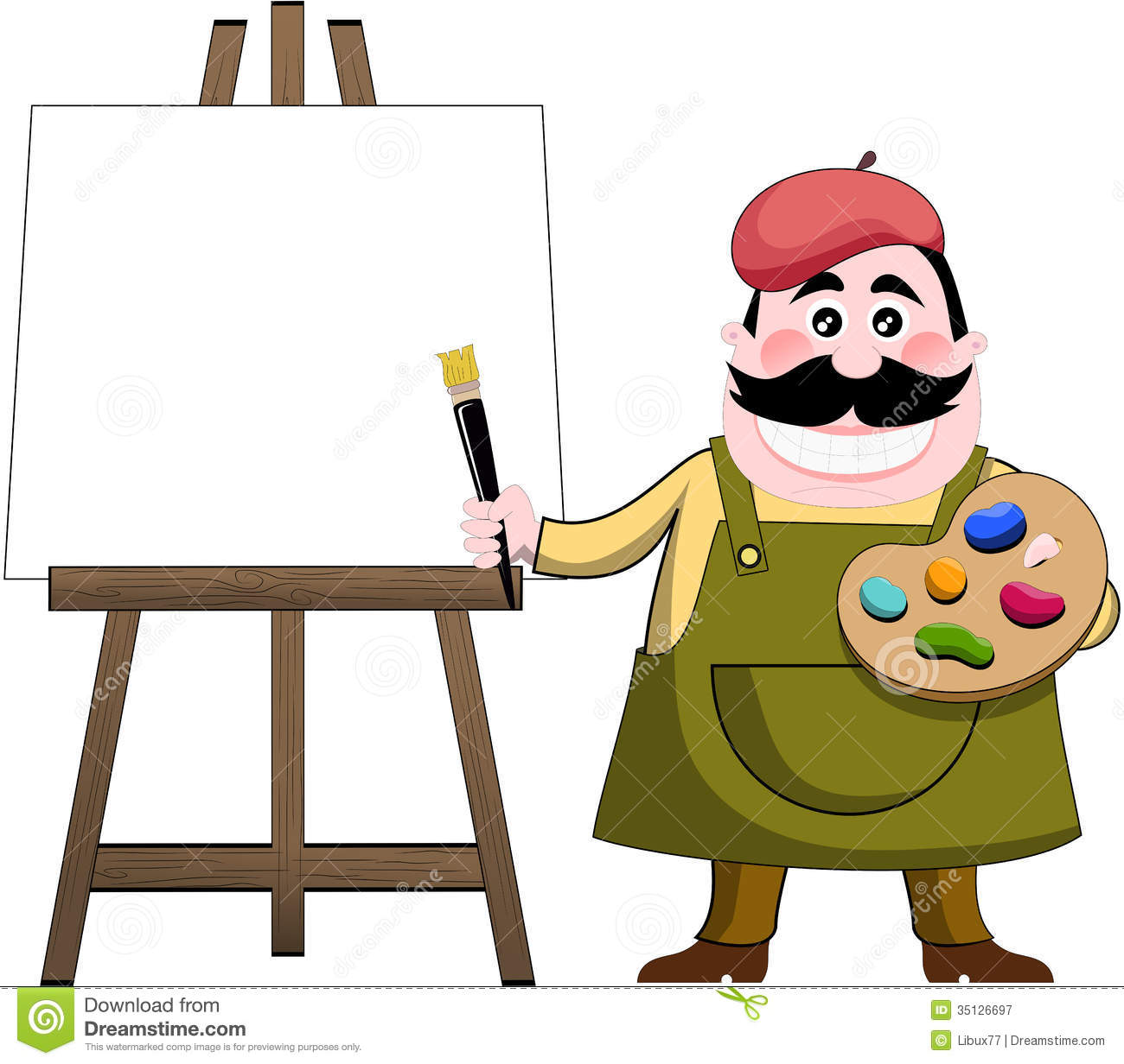 Artist painter and art easel stock vector illustration for Free online drawing