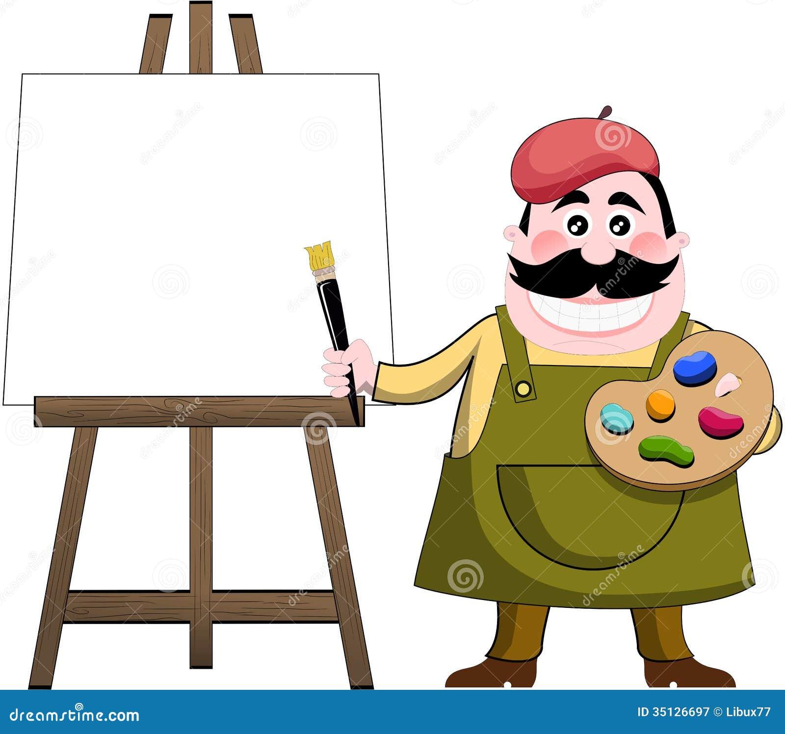 Cartoon Art Pallet Cartoon Artist Painter With