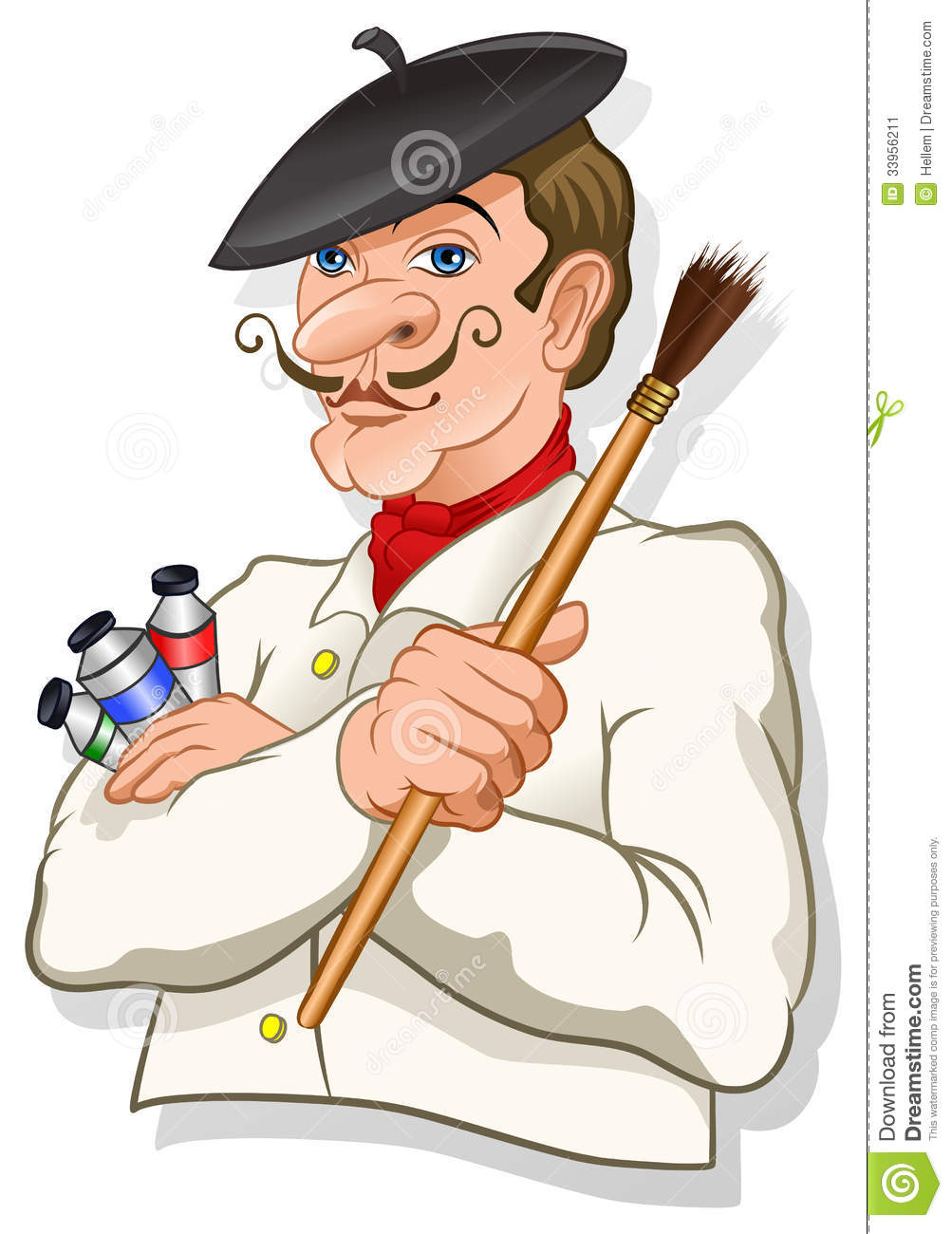 French inspired artist with a brush and color tubes  vector.