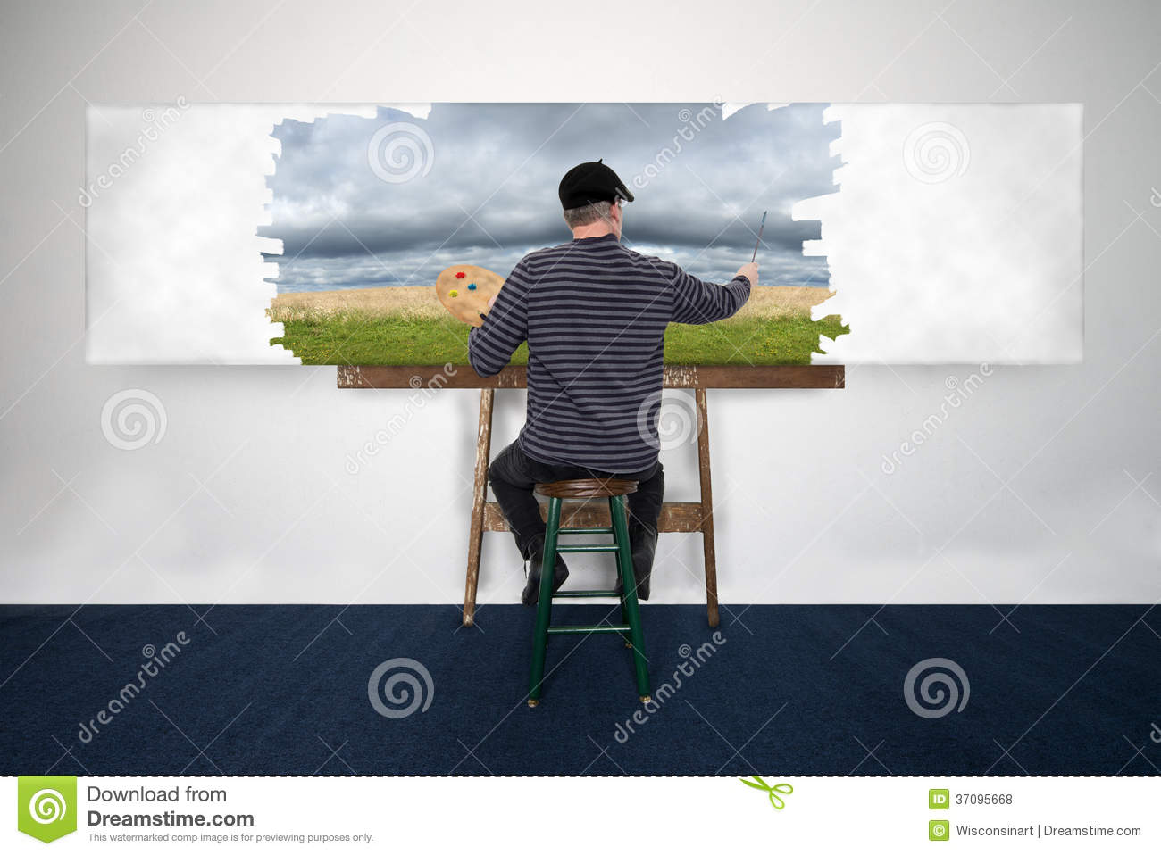 Artist and painter paint oil painting landscape on white for Creating a mural