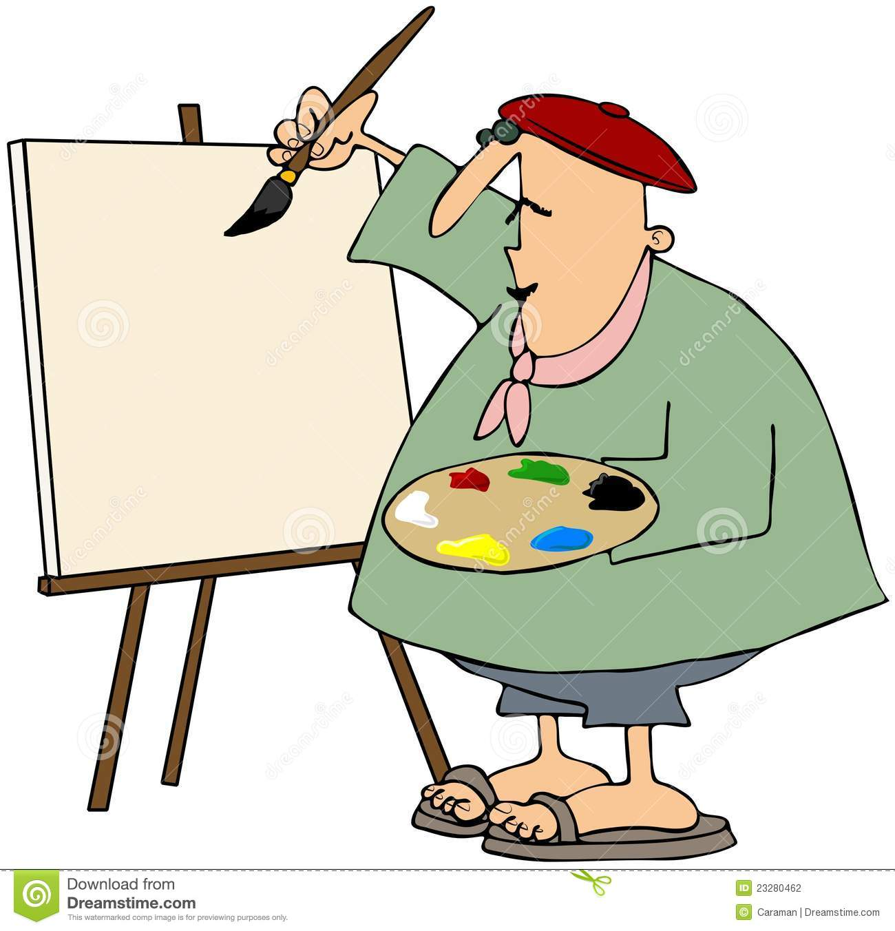 Male Artist Painting In Beret