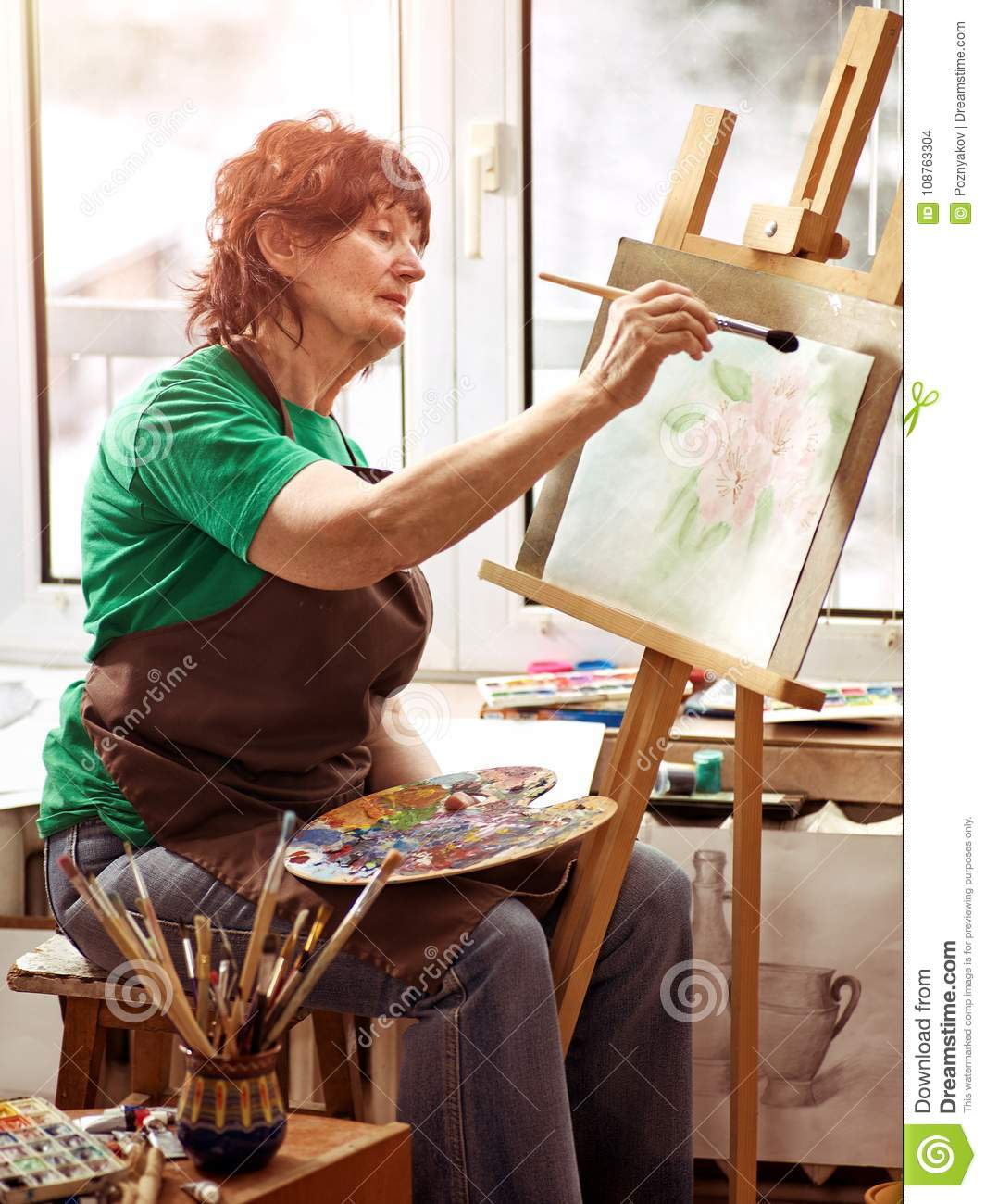 Artist Painting Easel In Studio Authentic Senior Woman