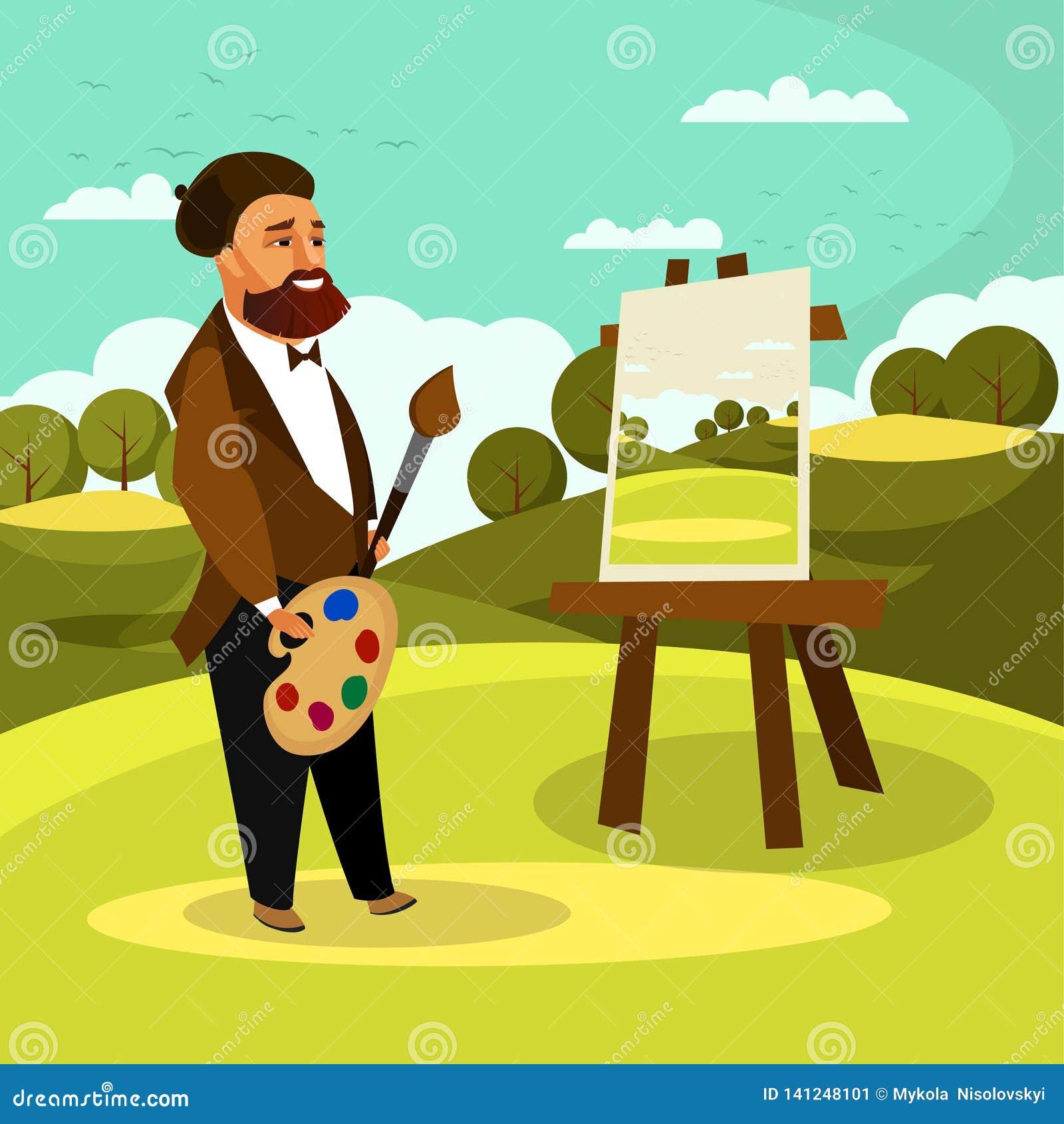 Artist Painting Landscape Flat Vector Illustration