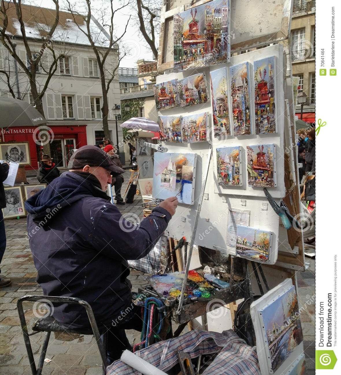 Artist Painting at Montmare in Paris France